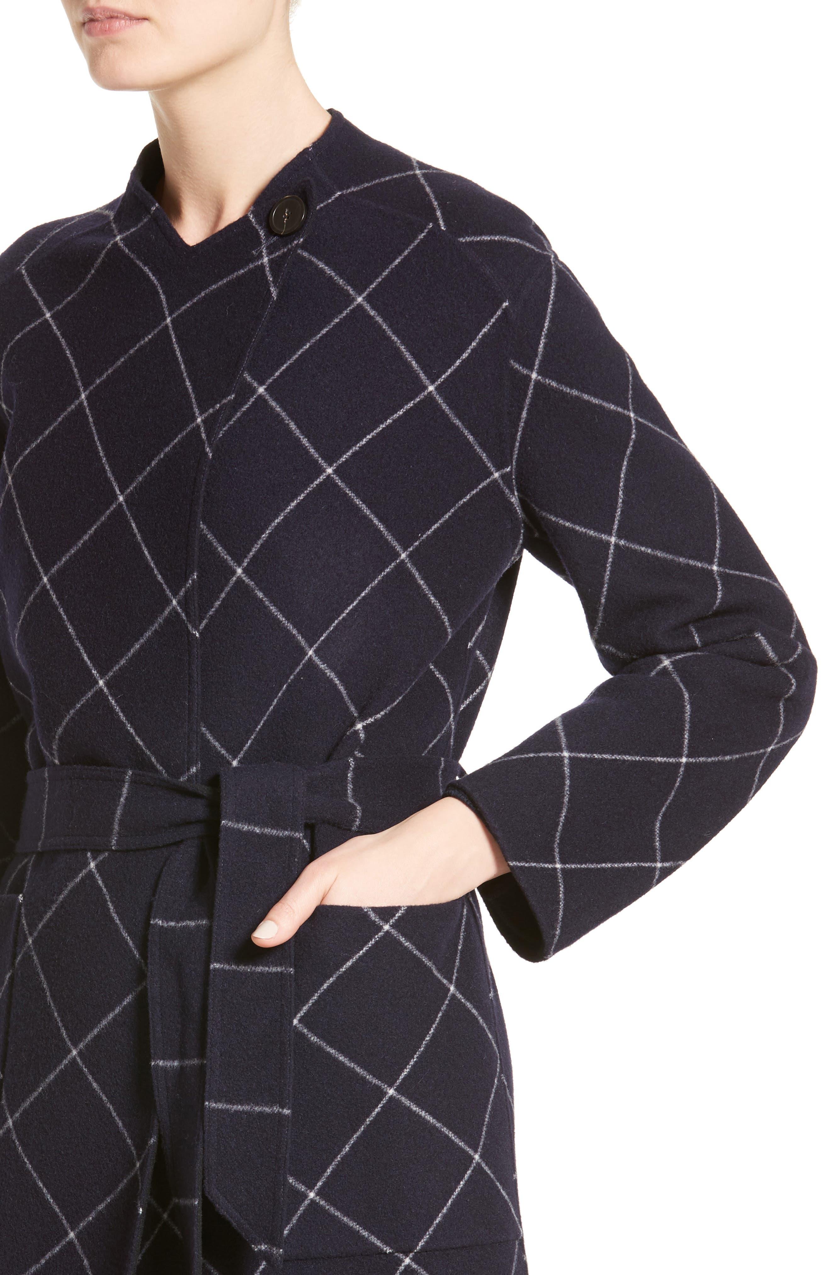 Windowpane Wool & Cashmere Wrap Coat,                             Alternate thumbnail 6, color,                             Navy Multi