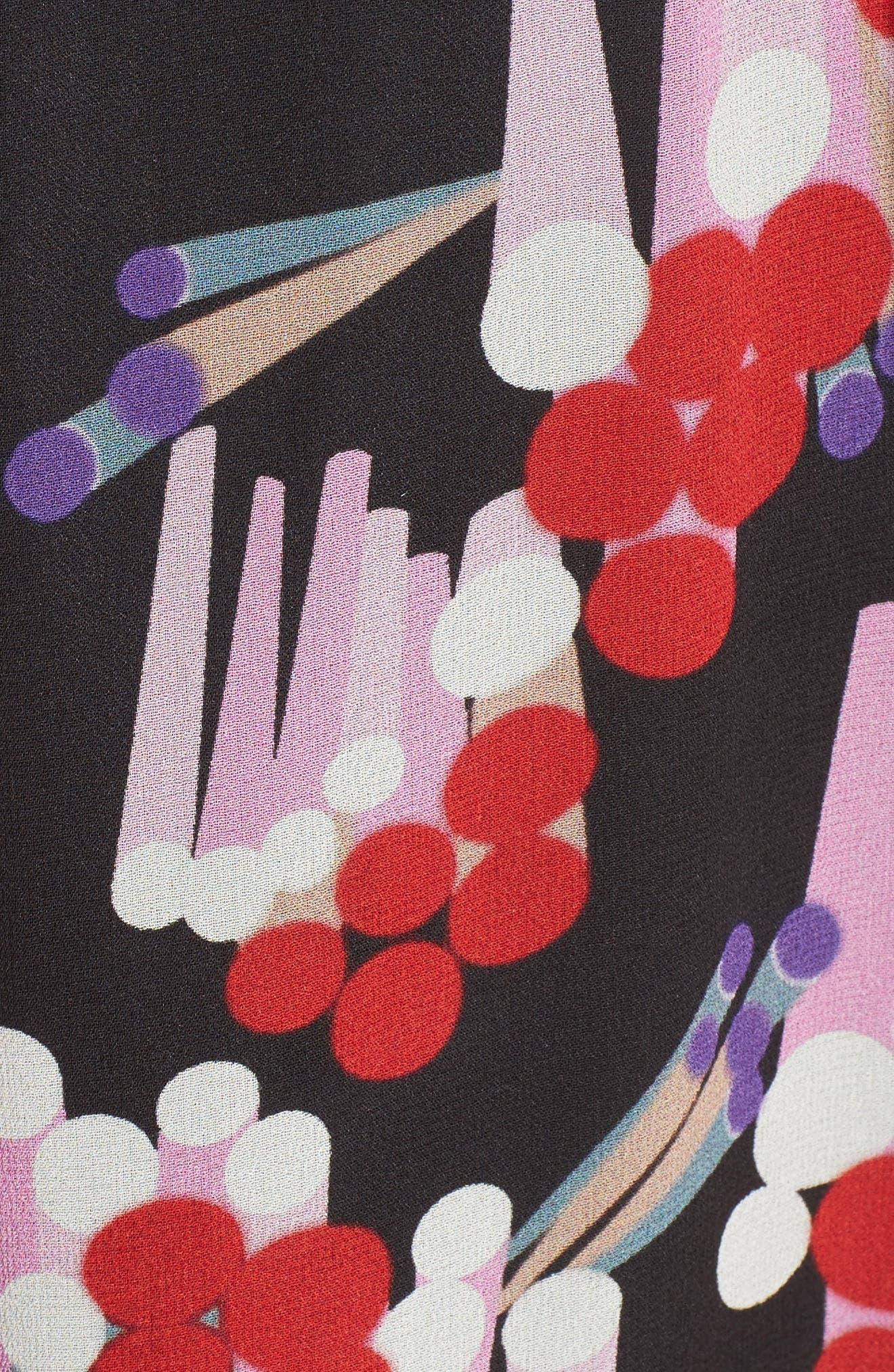 Print Silk Midi Dress,                             Alternate thumbnail 3, color,                             Black Multi