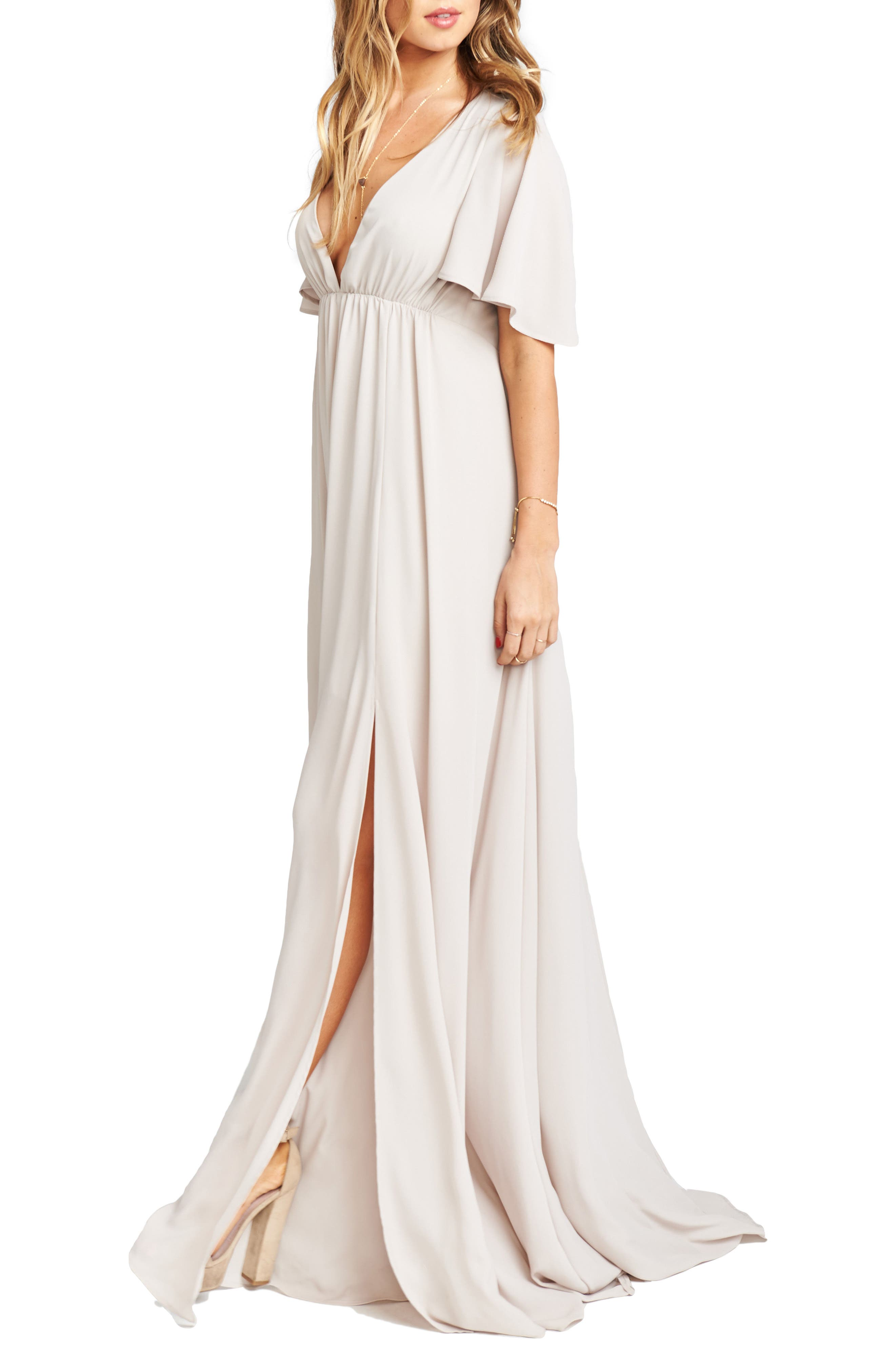 Faye Chiffon Gown,                             Alternate thumbnail 3, color,                             Show Me The Ring