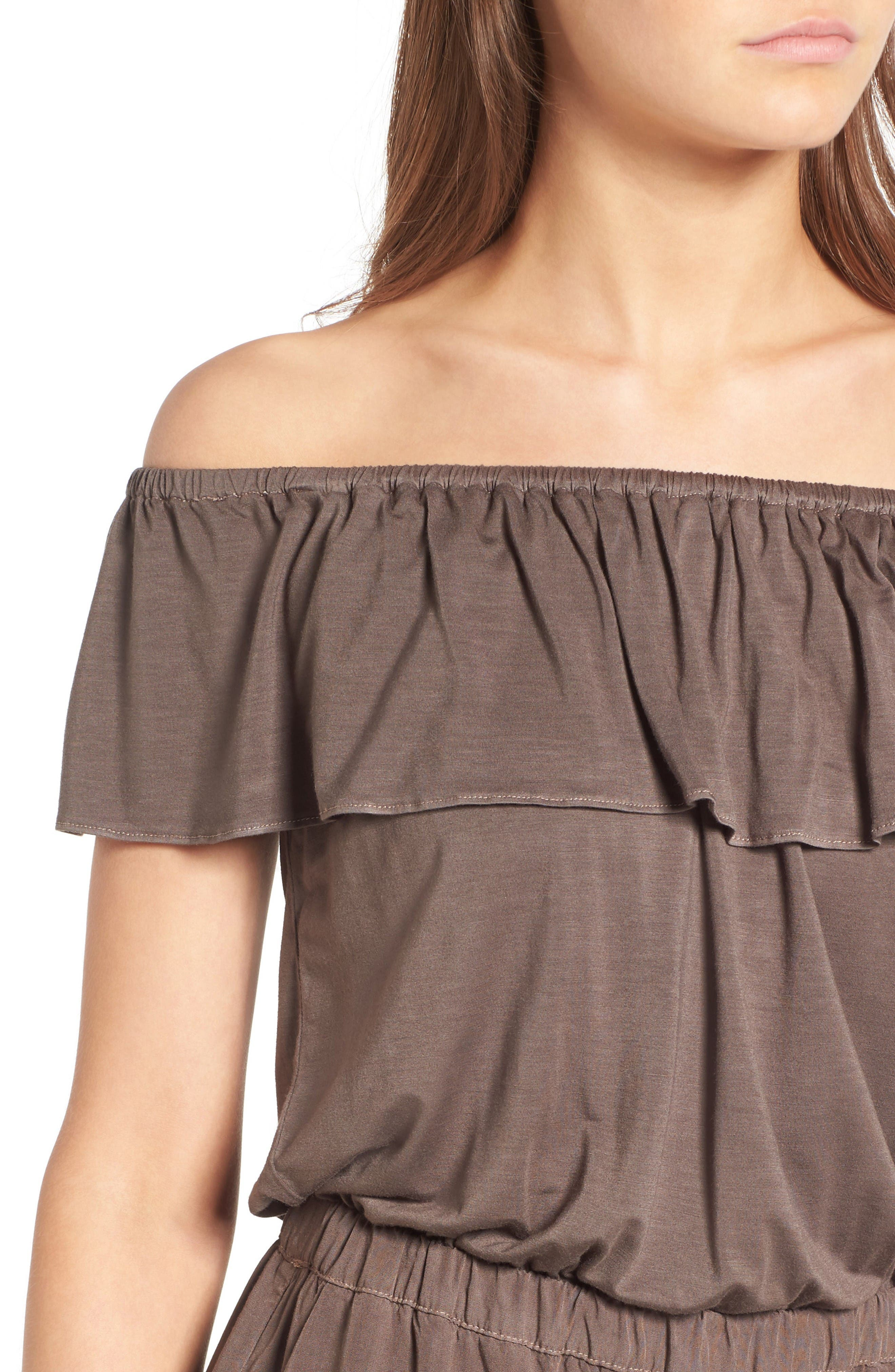 Off the Shoulder Chambray Romper,                             Alternate thumbnail 4, color,                             Military Olive