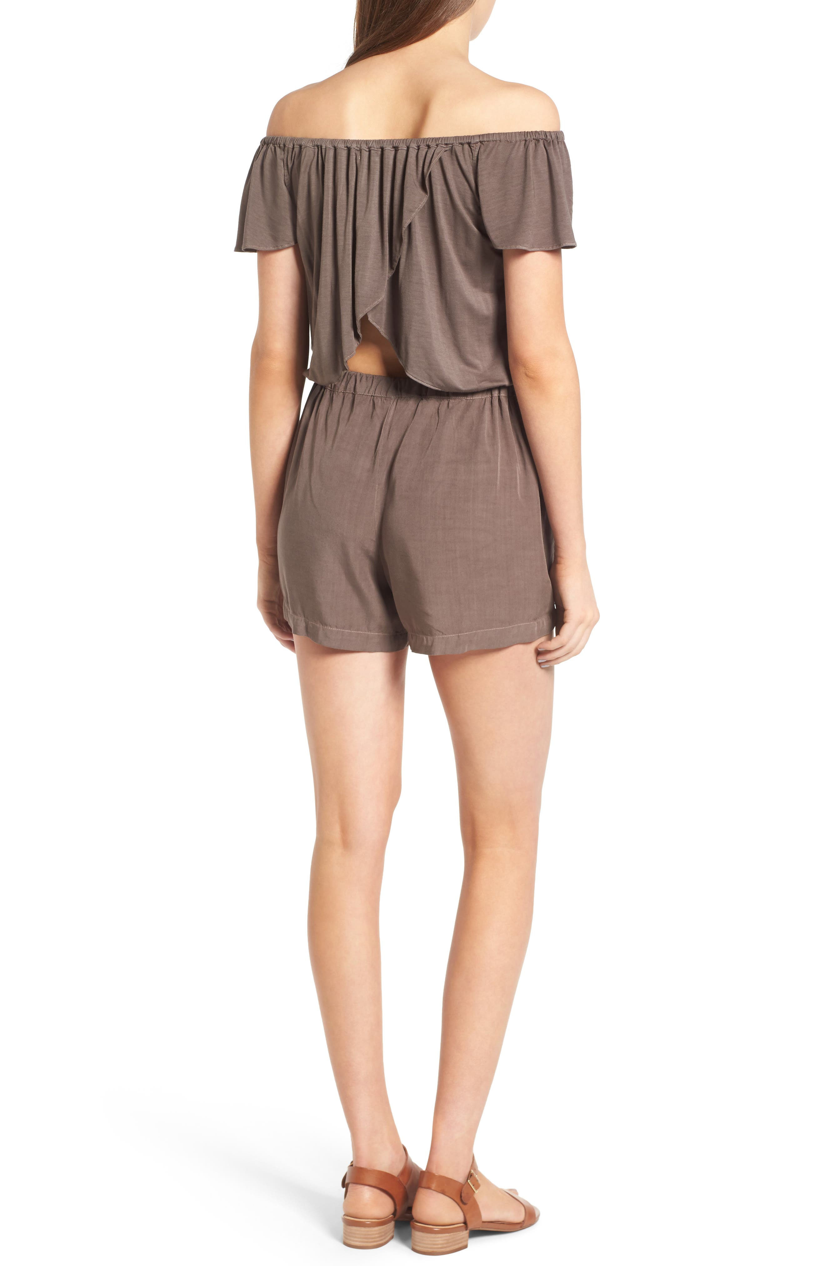 Off the Shoulder Chambray Romper,                             Alternate thumbnail 2, color,                             Military Olive