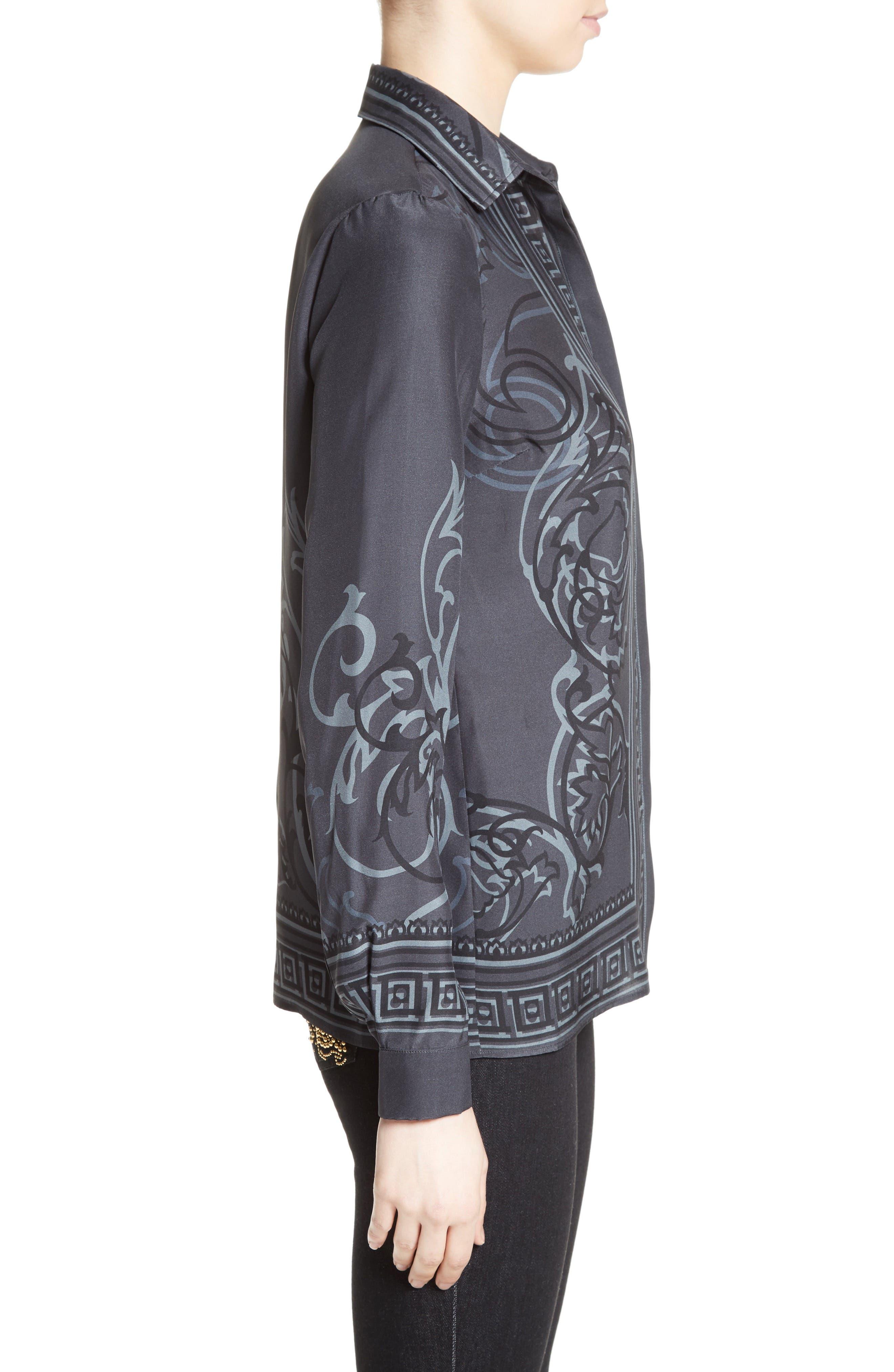 Alternate Image 5  - Versace Collection Baroque Print Silk Blouse