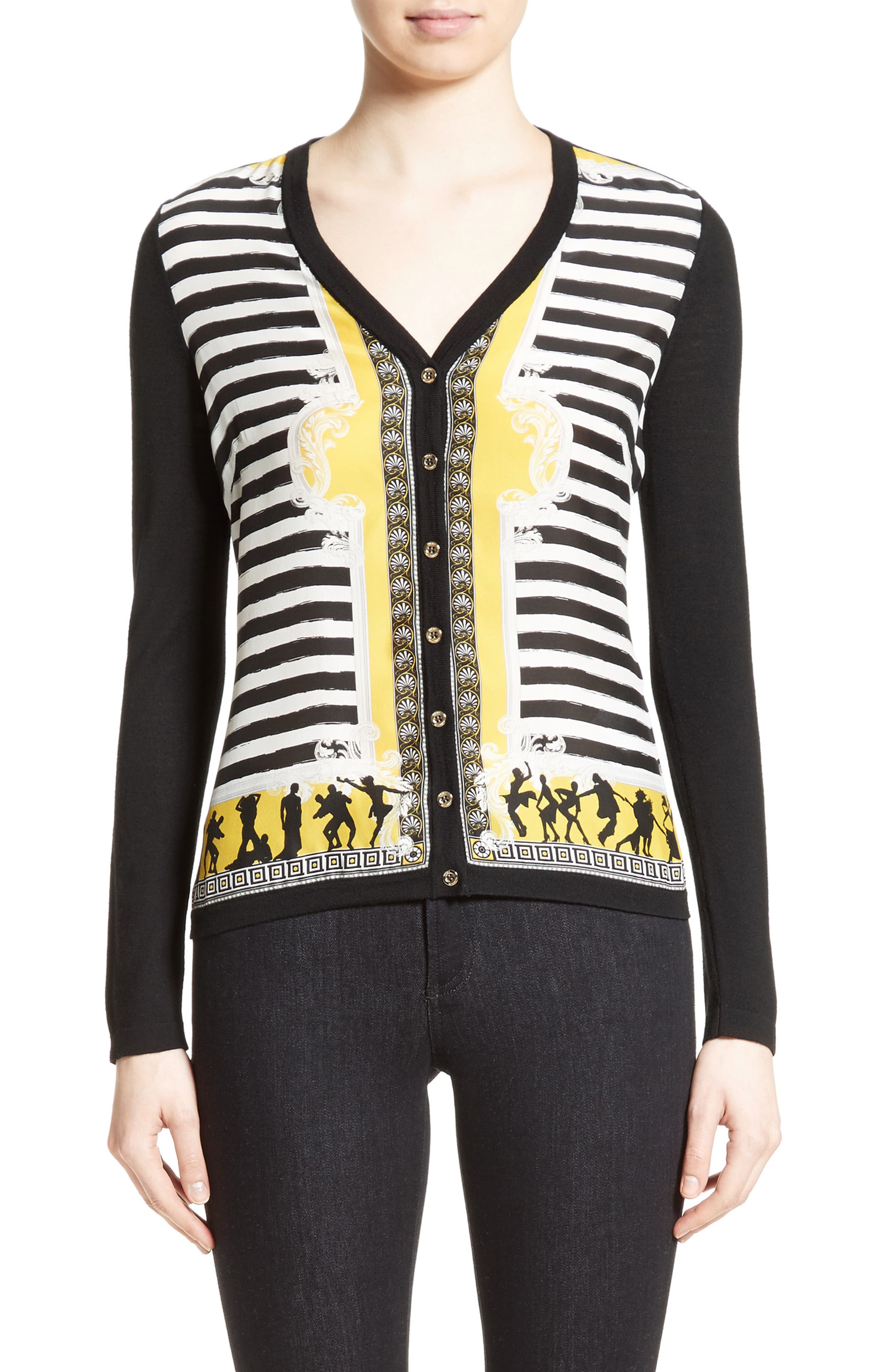 Versace Collection Catwalk Print Silk & Wool Cardigan