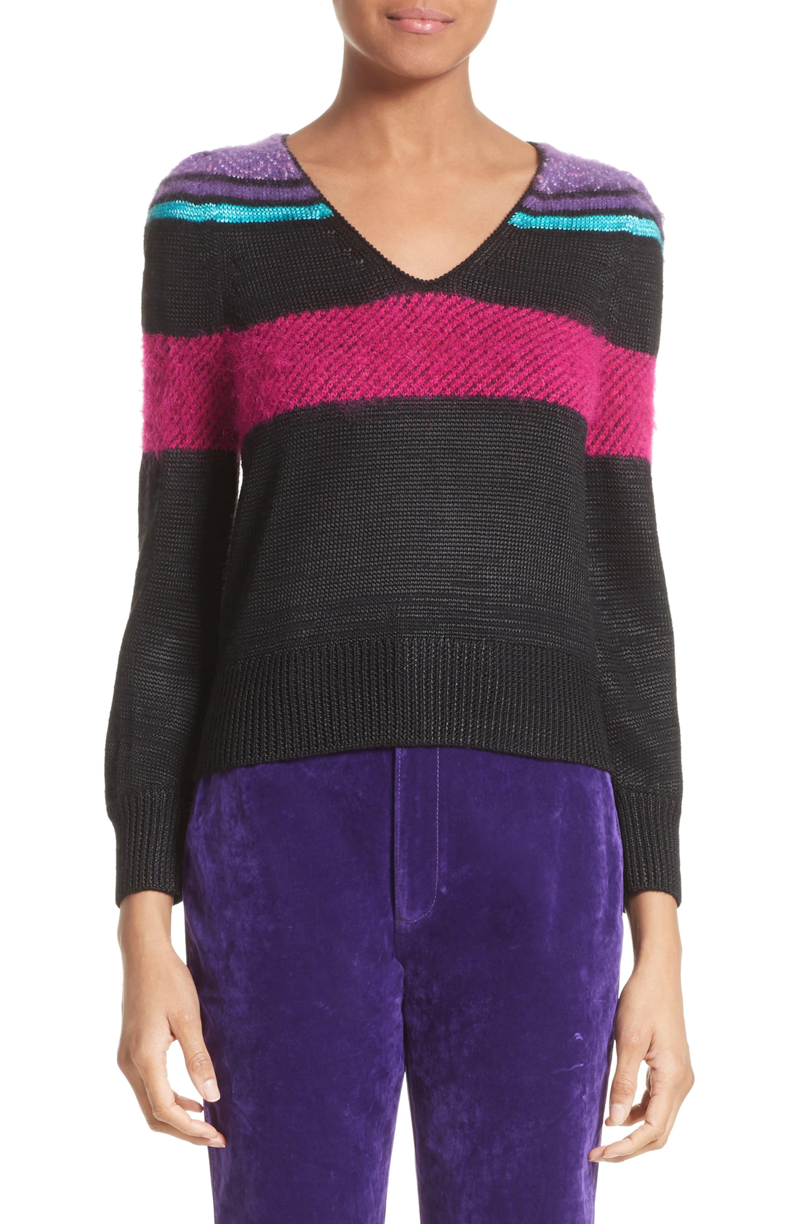'80s Stripe Knit Sweater,                             Main thumbnail 1, color,                             Black Multi