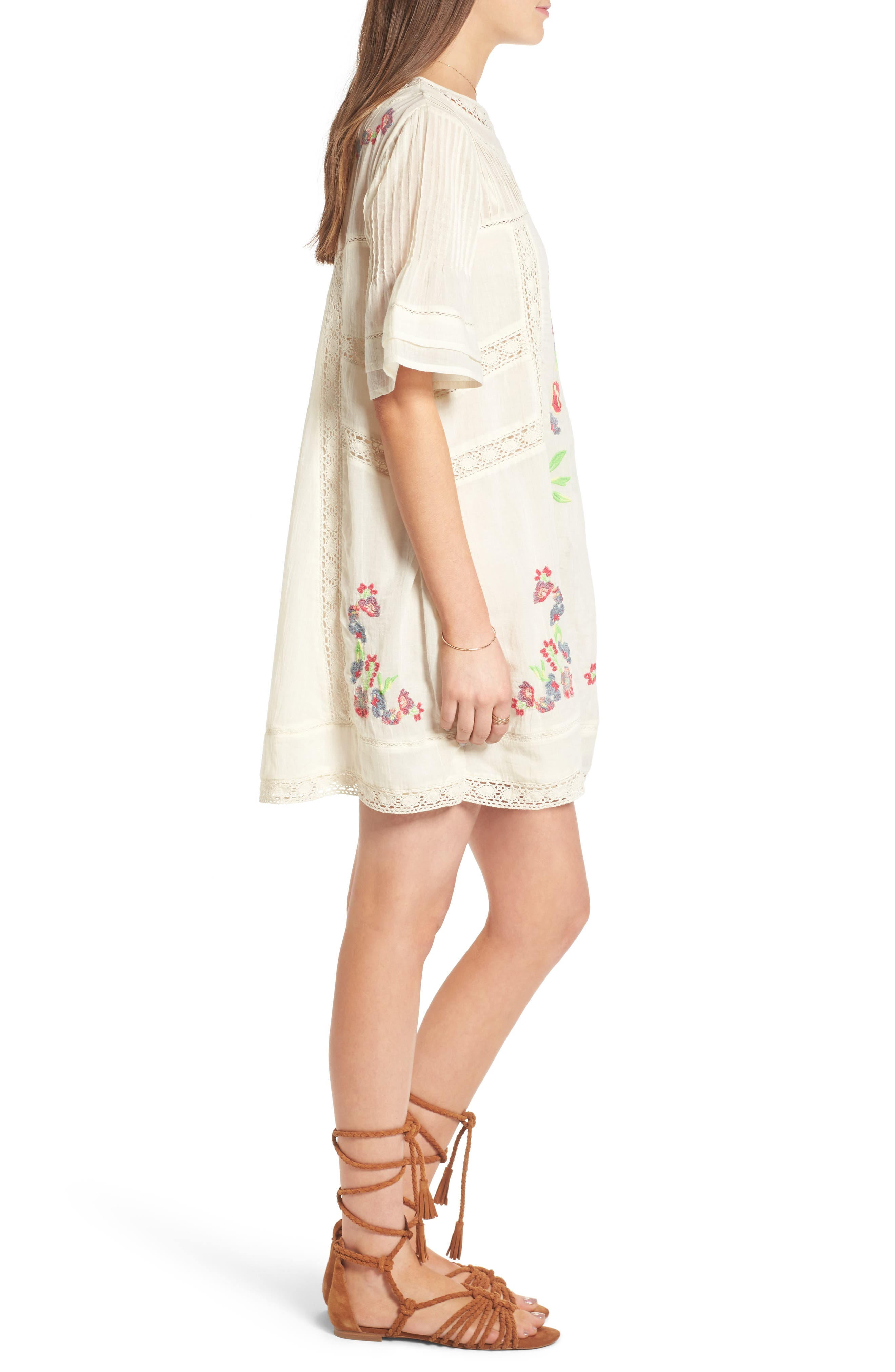 'Perfectly Victorian' Minidress,                             Alternate thumbnail 3, color,                             White
