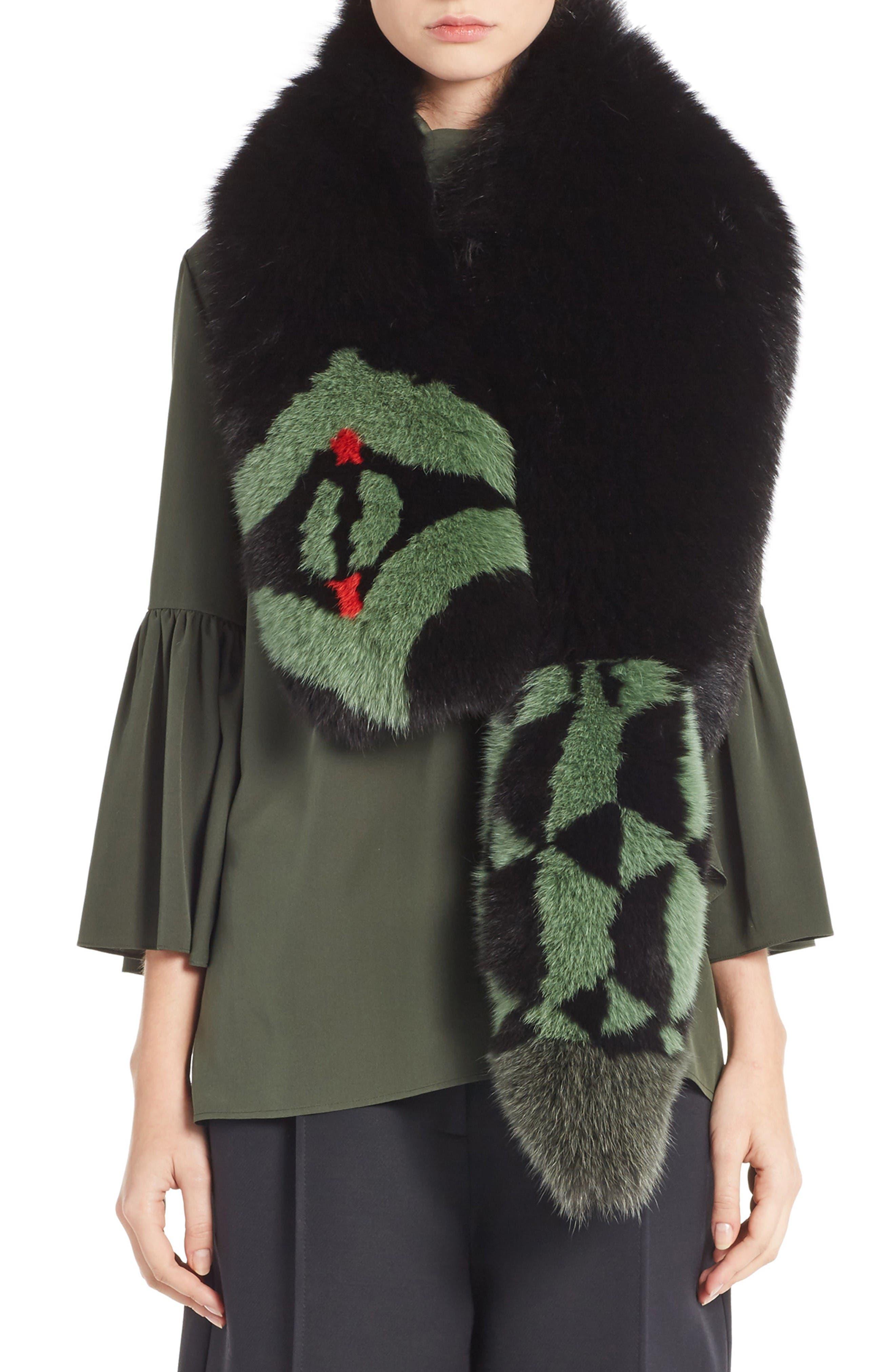 Puzzle Genuine Fox Fur Stole,                         Main,                         color, Black Multi