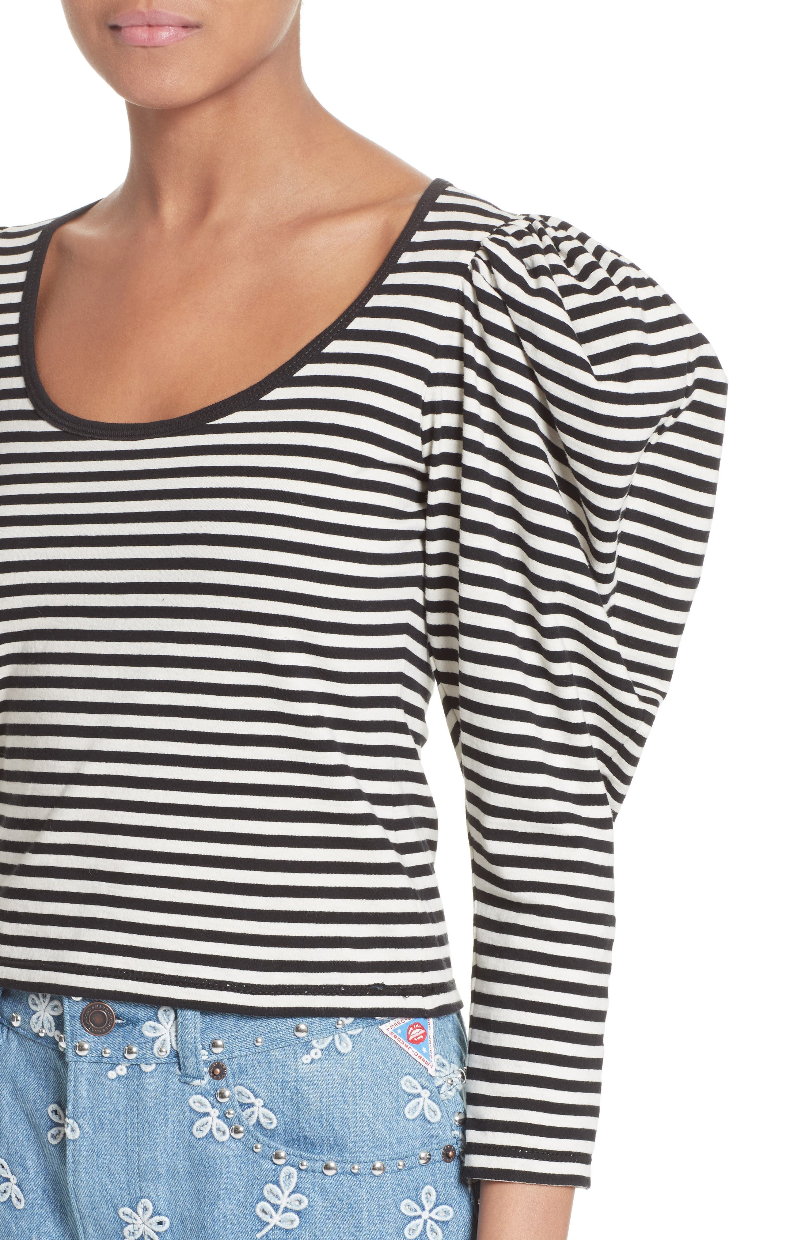 Stripe Cotton Puff Sleeve Top,                             Alternate thumbnail 7, color,                             Black Multi