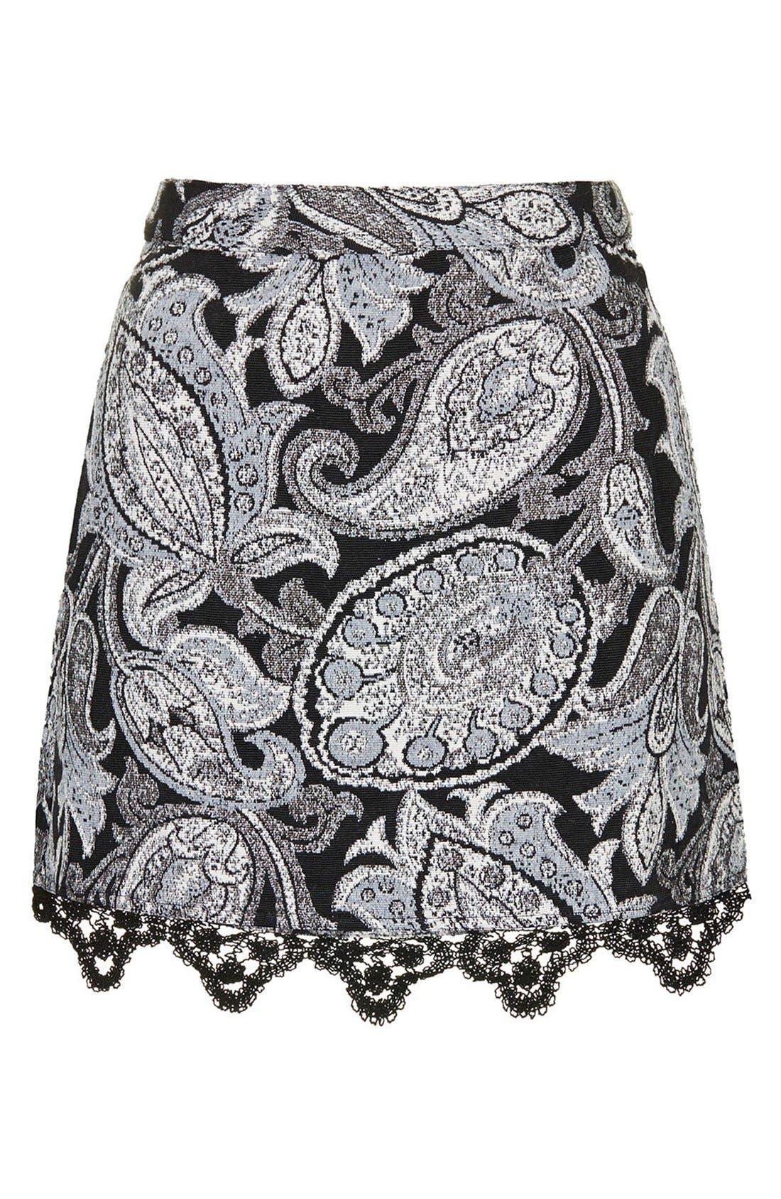 Alternate Image 3  - Topshop Jacquard Paisley Miniskirt