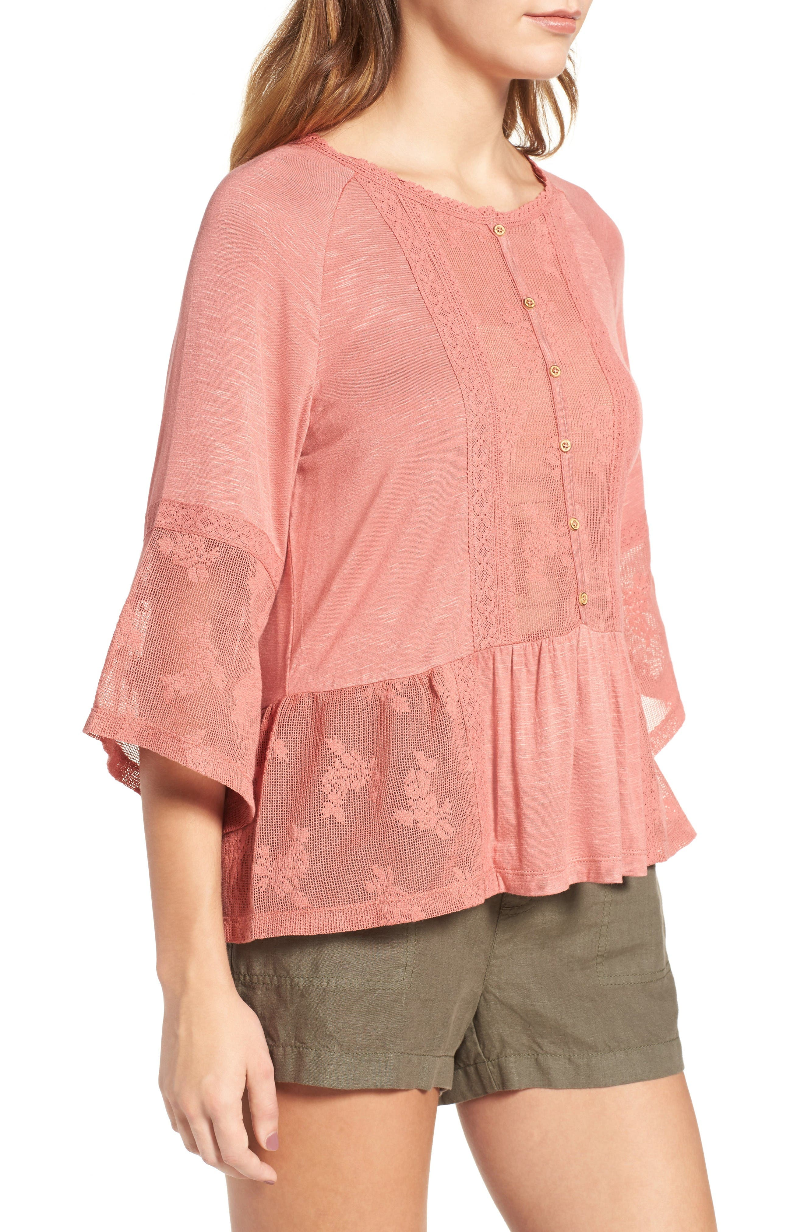 Alternate Image 3  - Wit & Wisdom Mixed Media Flounce Top (Nordstrom Exclusive)