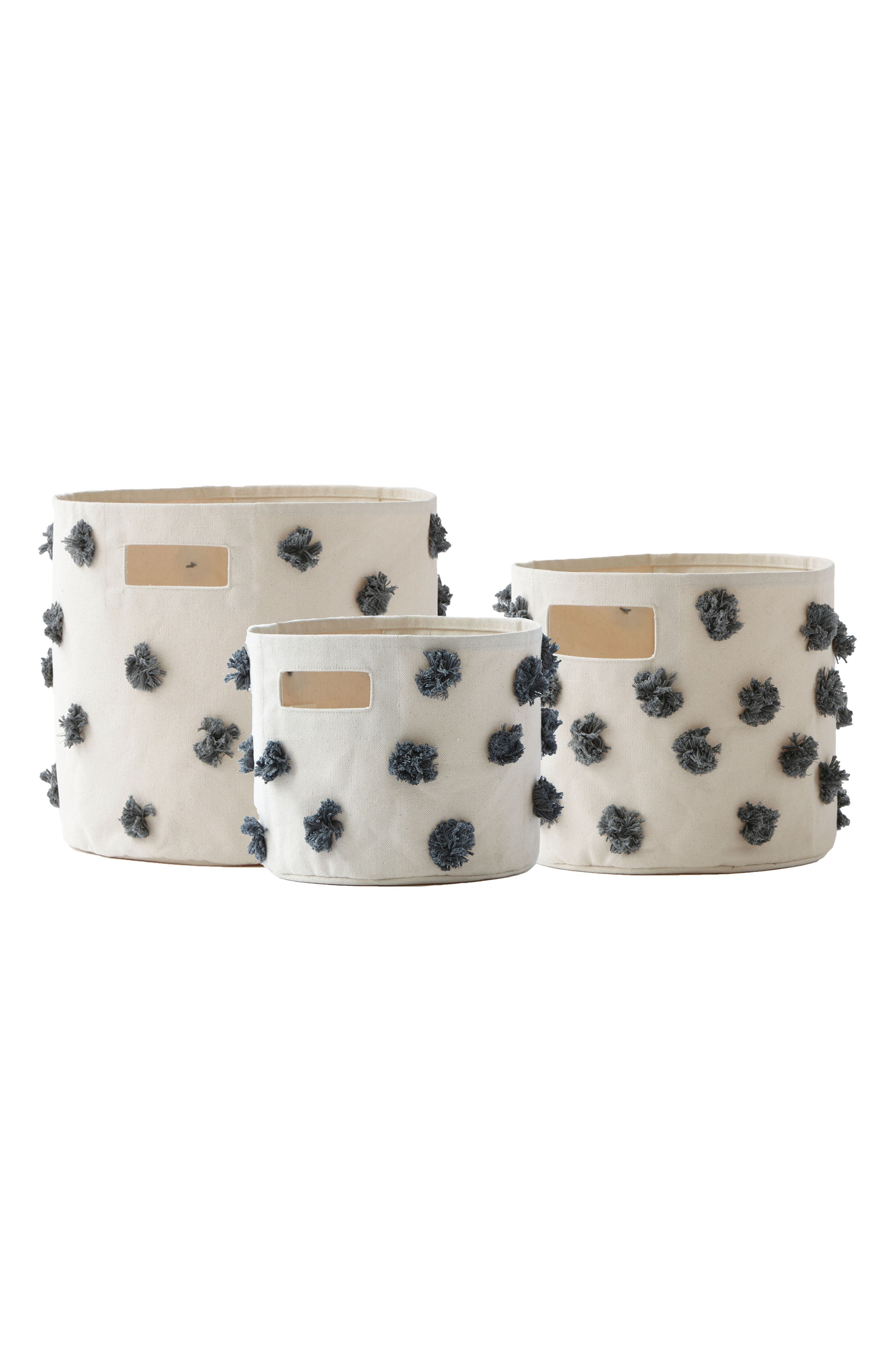 Pom Set of 3 Canvas Bins,                         Main,                         color, Charcoal