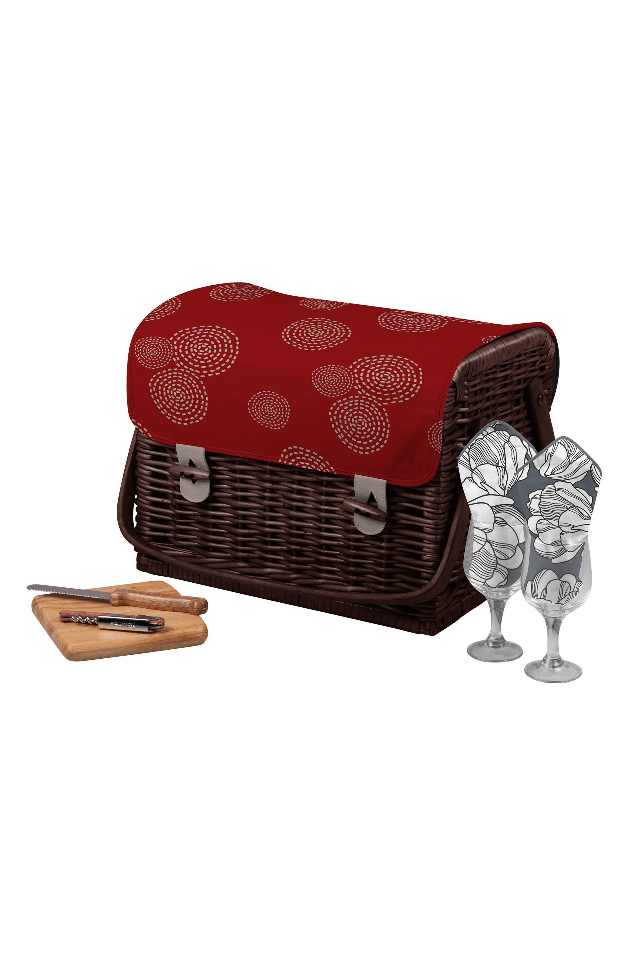Kabrio Wine & Cheese Picnic Basket,                             Main thumbnail 1, color,                             Red