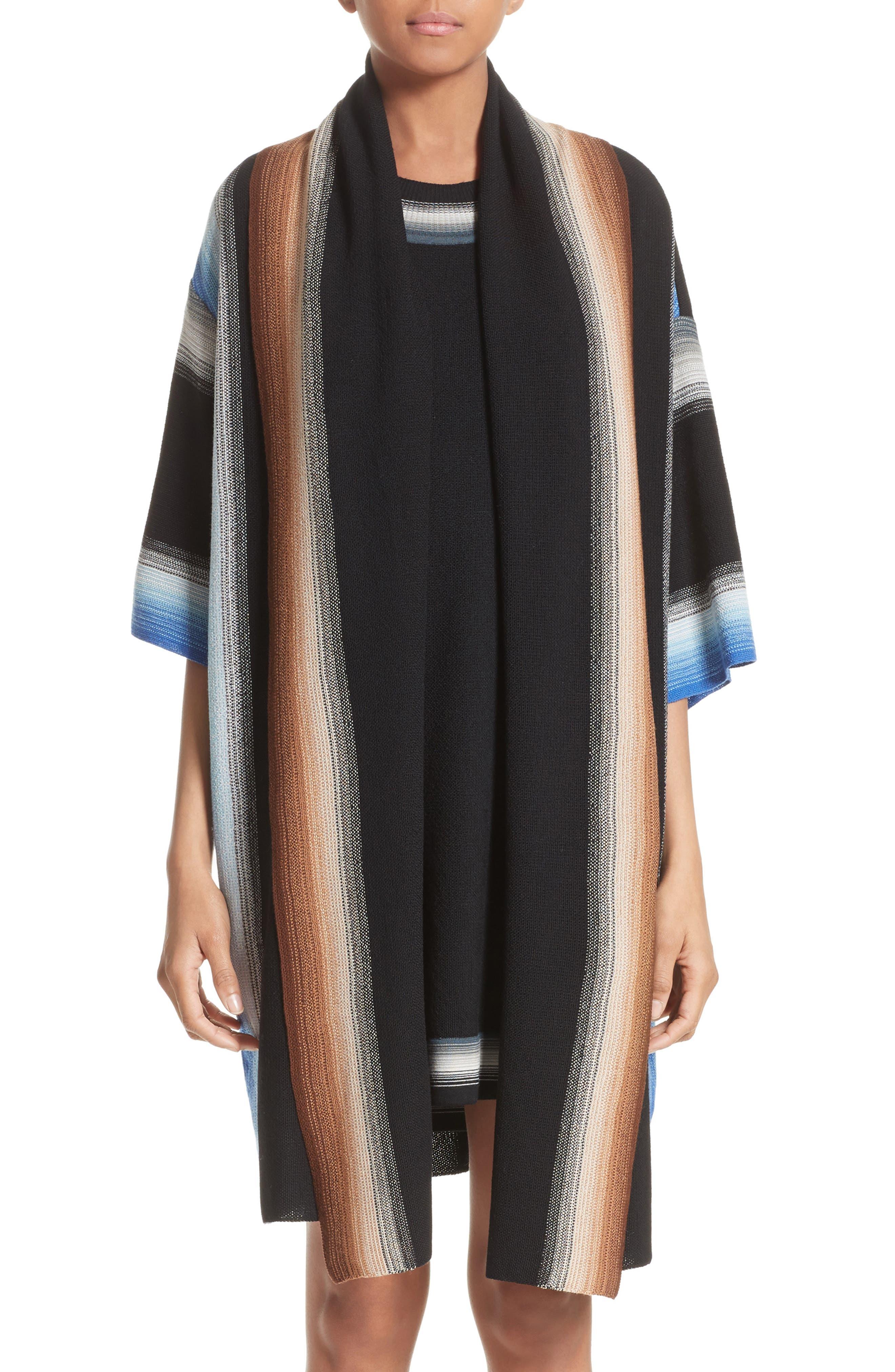 Dégradé Stripe Wool Cardigan,                         Main,                         color, Black/ Multi Blue