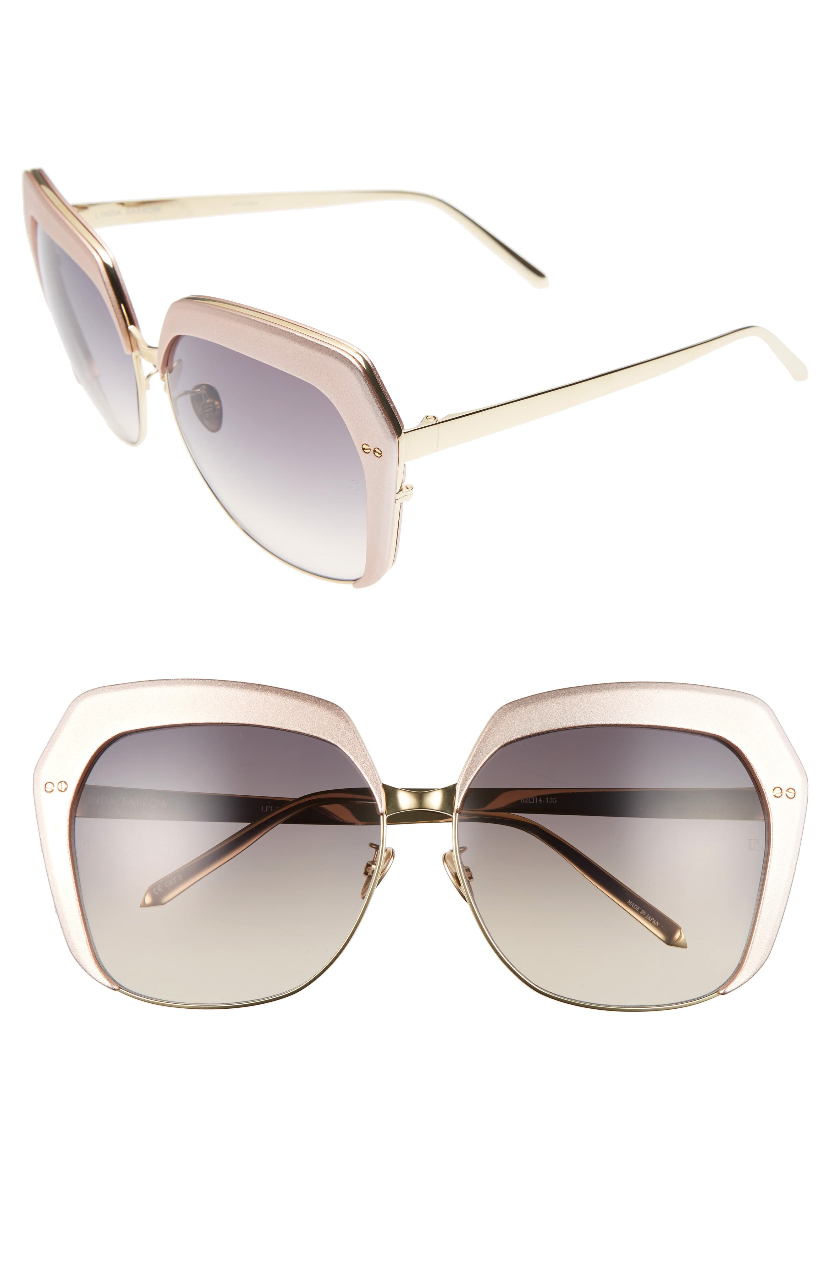 Linda Farrow 62mm 22 Karat Gold Trim Oversize Sunglasses