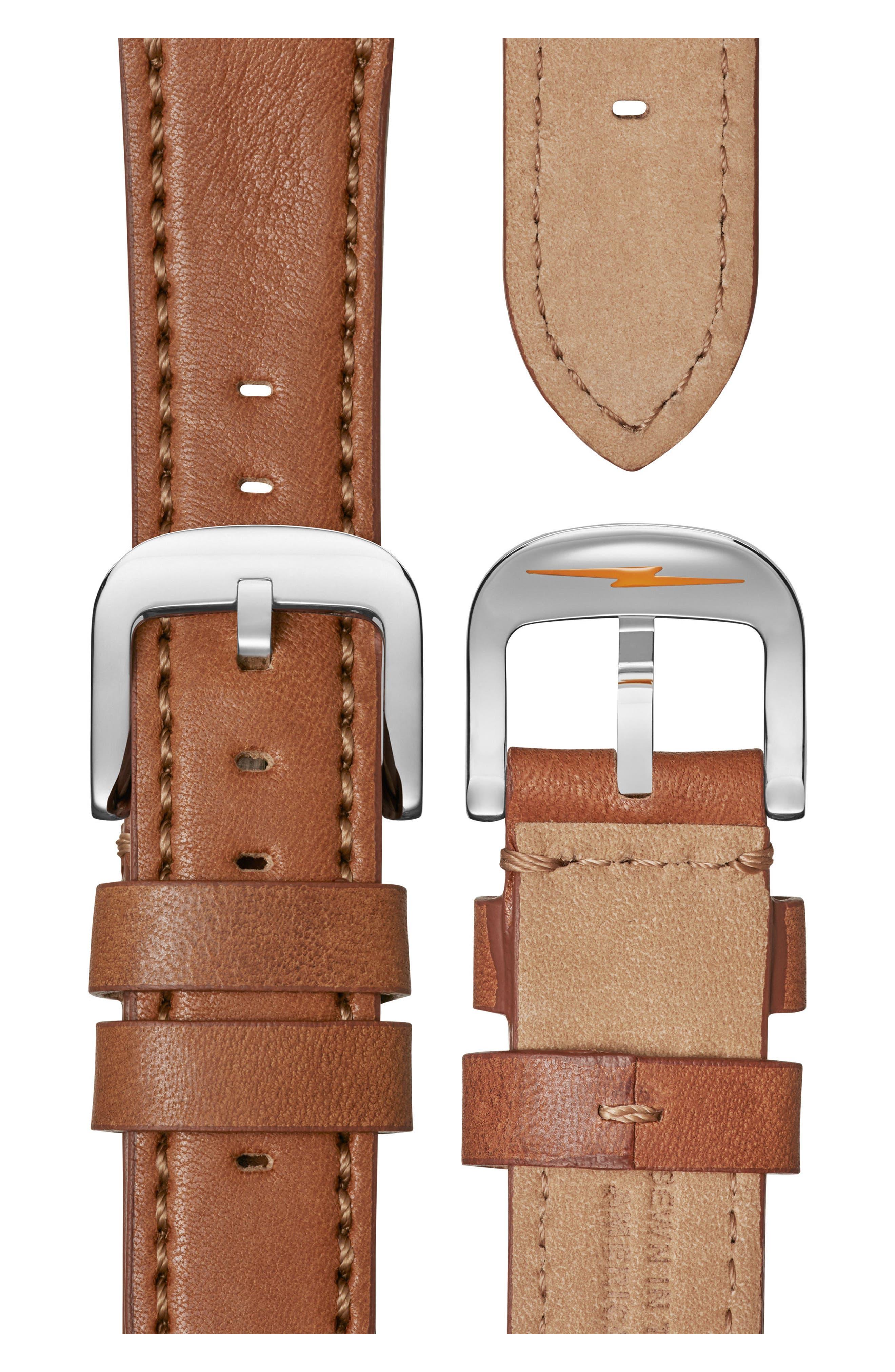 Bolt Leather Strap Watch, 42mm,                             Alternate thumbnail 4, color,                             Bourbon/ Blue Sunray/ Silver