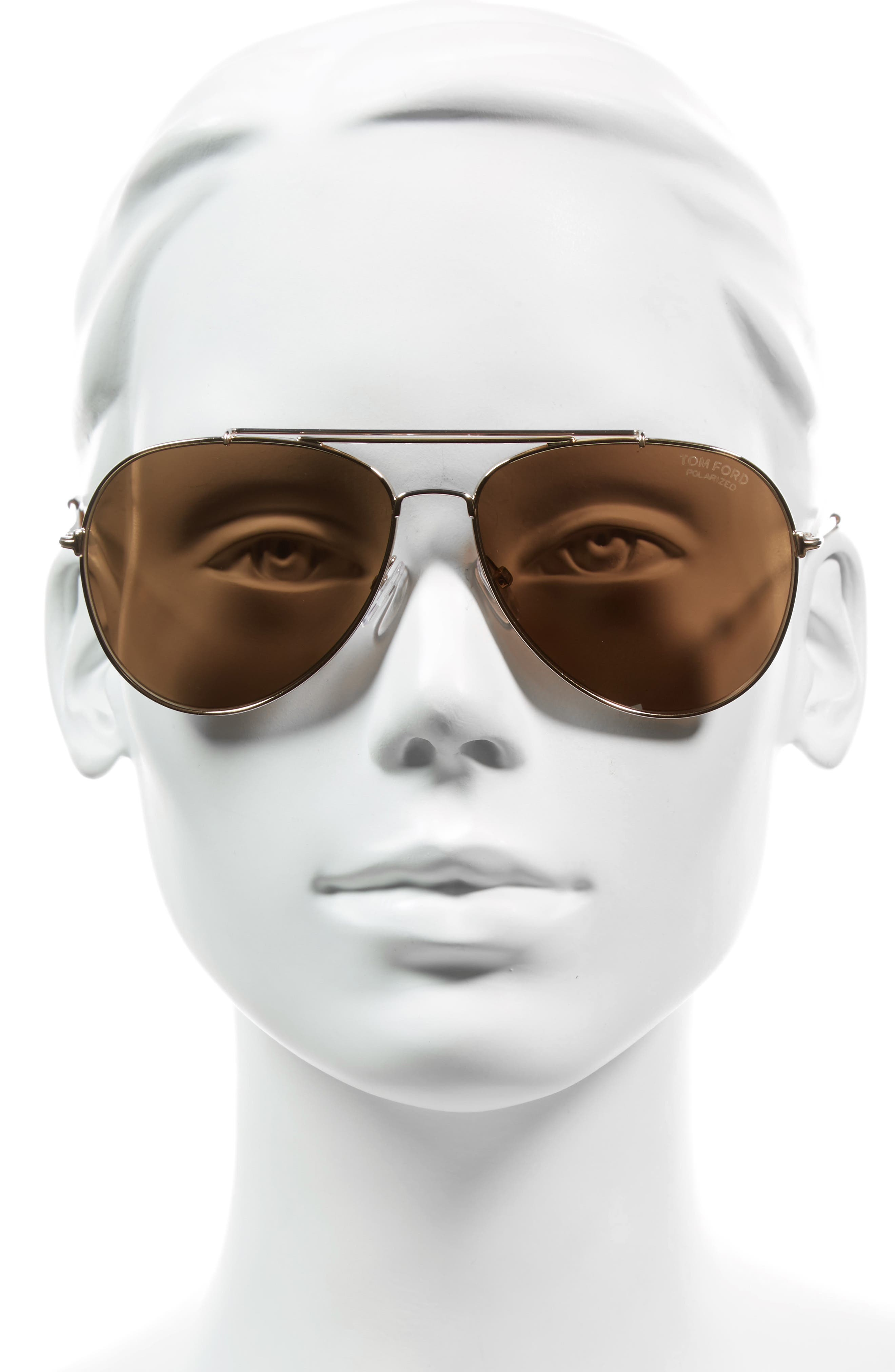 Indiana 58mm Polarized Aviator Sunglasses,                             Alternate thumbnail 2, color,                             Rose Gold/ Blonde/ Brown Polar