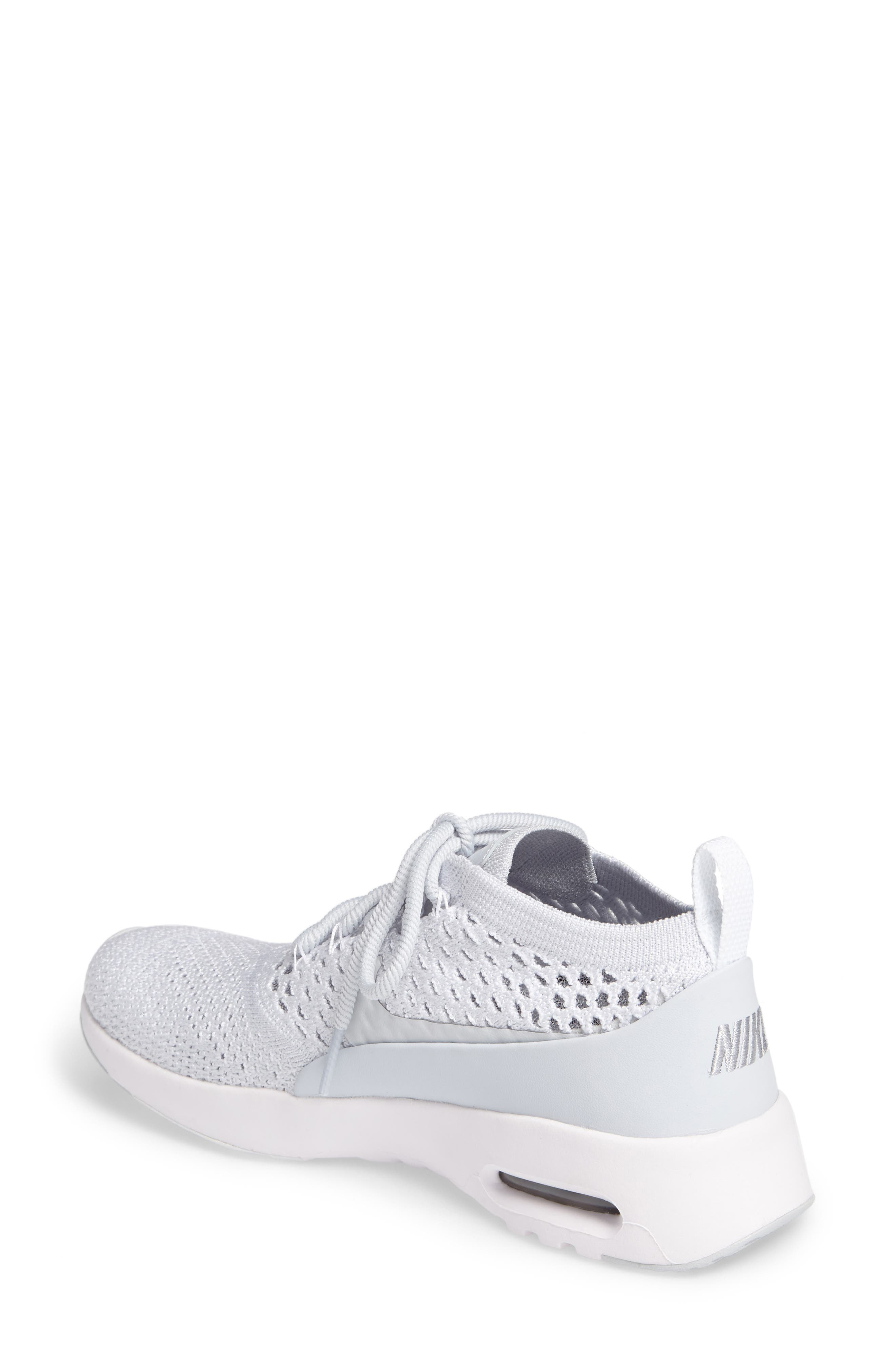 Air Max Thea Ultra Flyknit Sneaker,                             Alternate thumbnail 2, color,                             Pure Platinum/ White