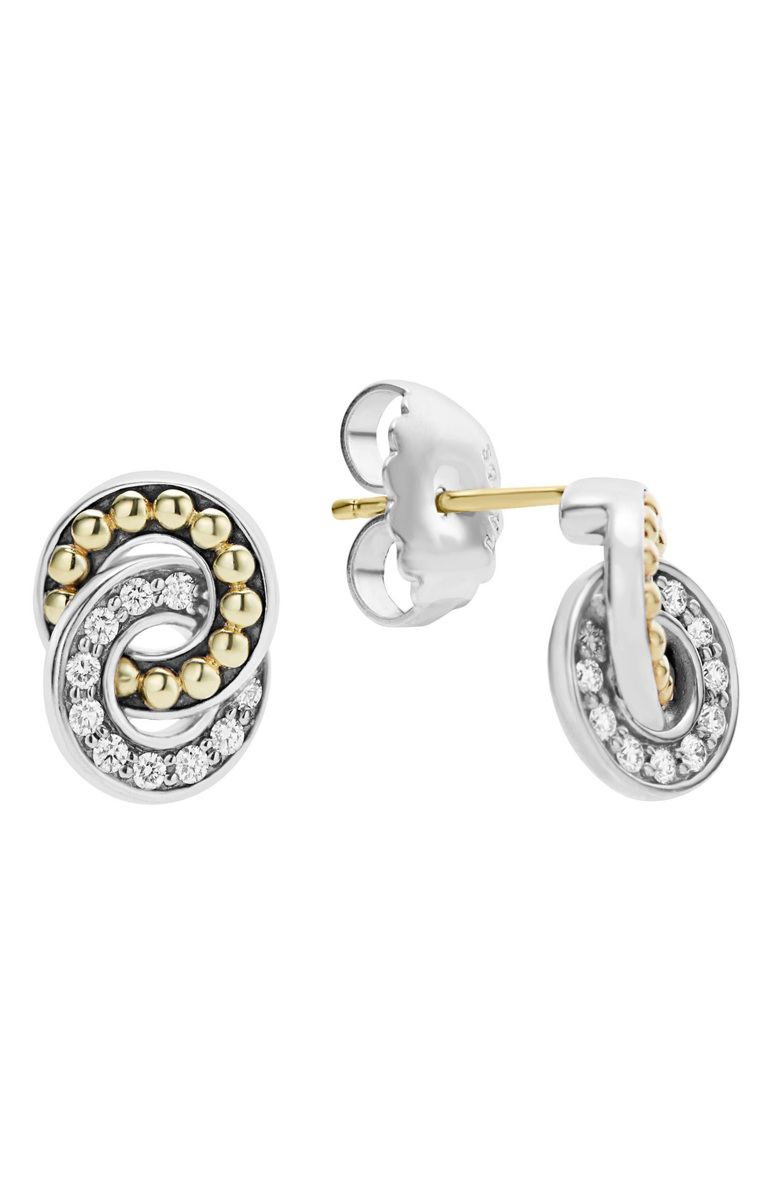 Enso Diamond Stud Earrings,                             Main thumbnail 1, color,                             Silver