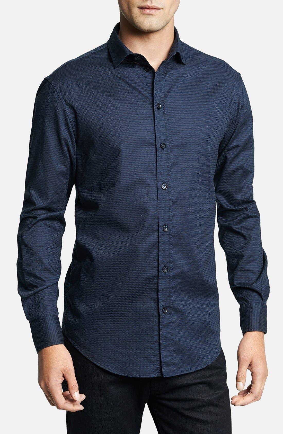Geometric Textured Sport Shirt,                             Main thumbnail 1, color,                             Navy