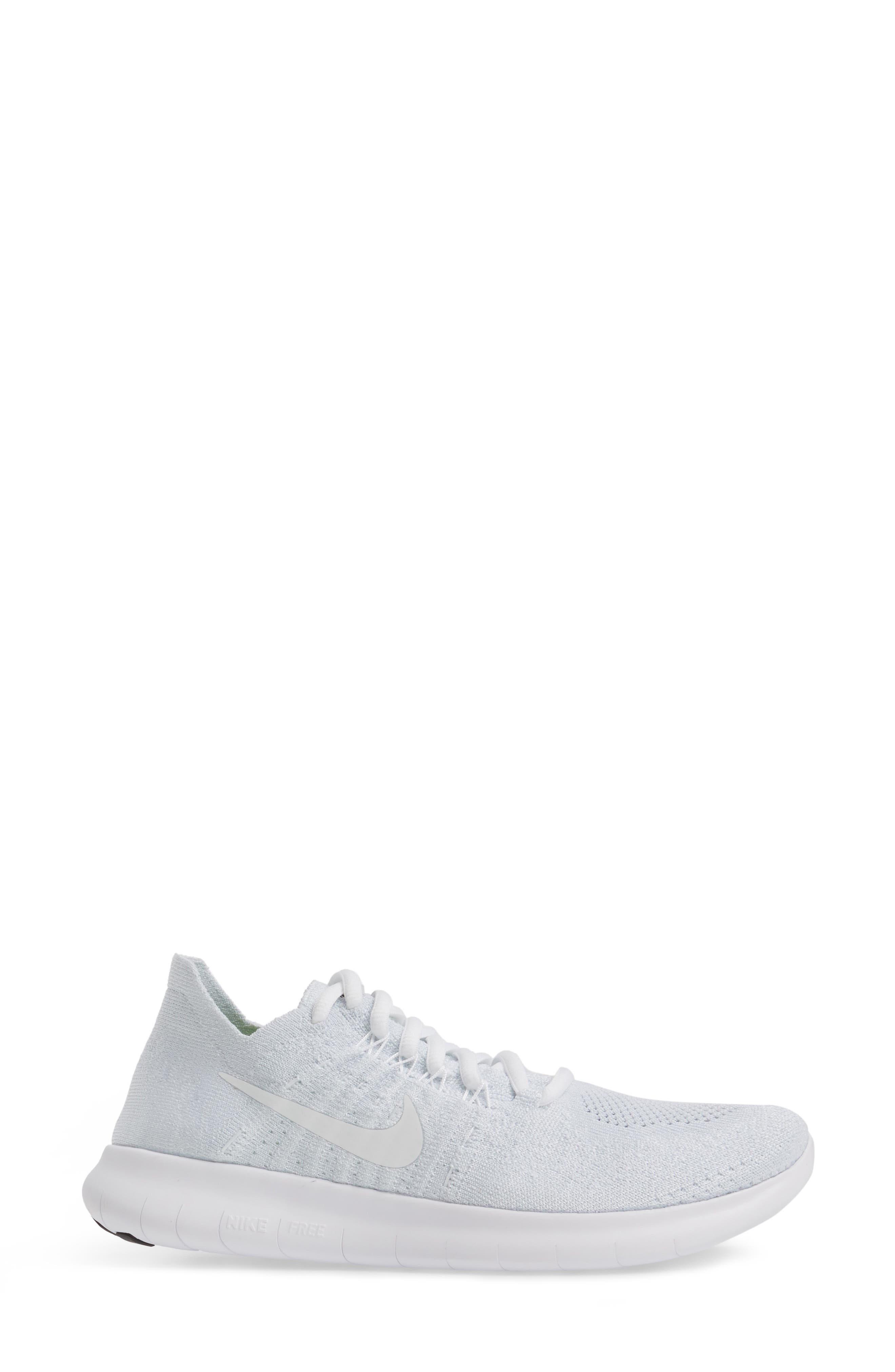 Free Run Flyknit 2 Running Shoe,                             Alternate thumbnail 3, color,                             White/ Platinum/ Black