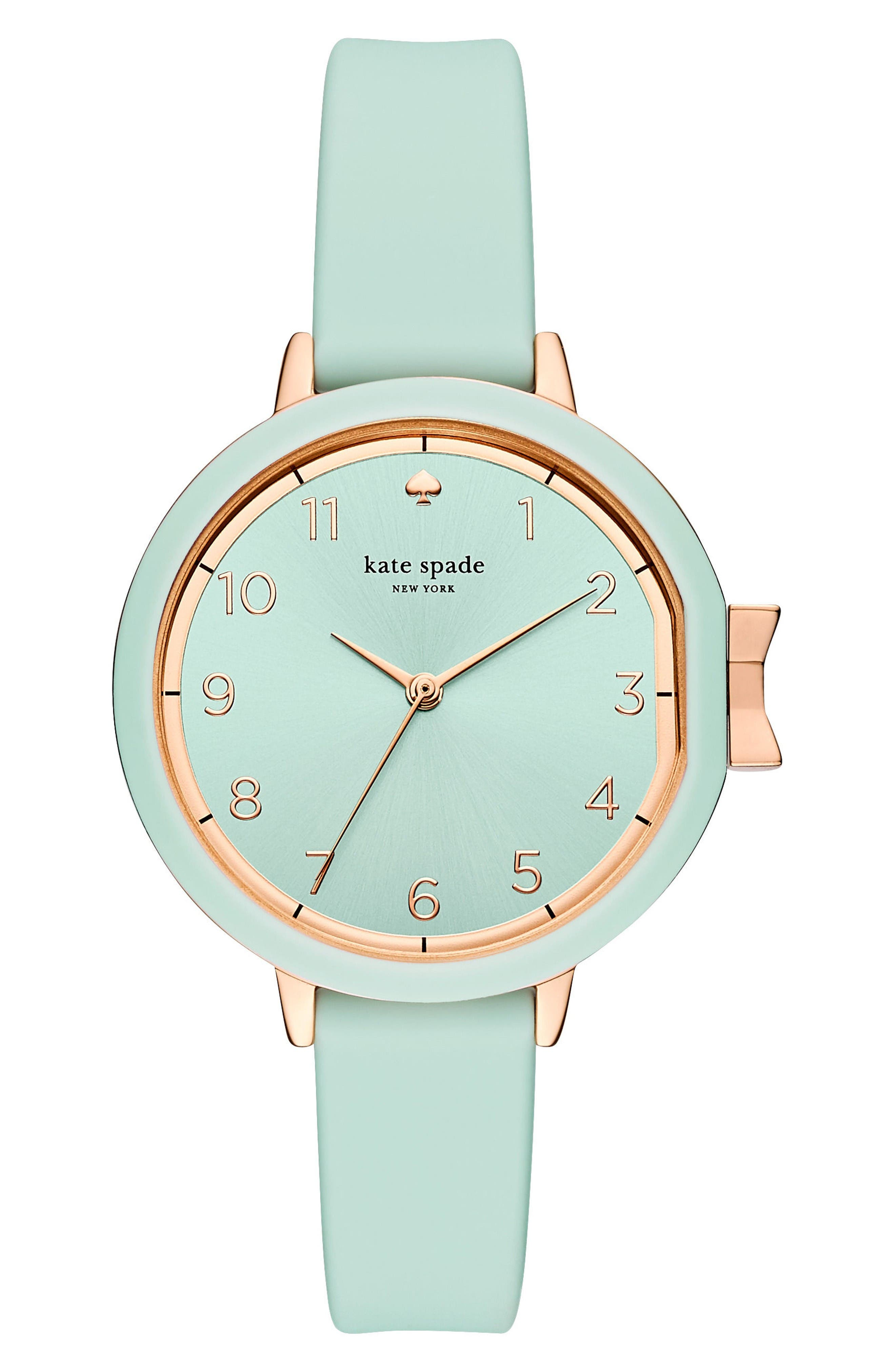 park row silicone strap watch, 34mm,                             Main thumbnail 1, color,                             Mint/ Gold