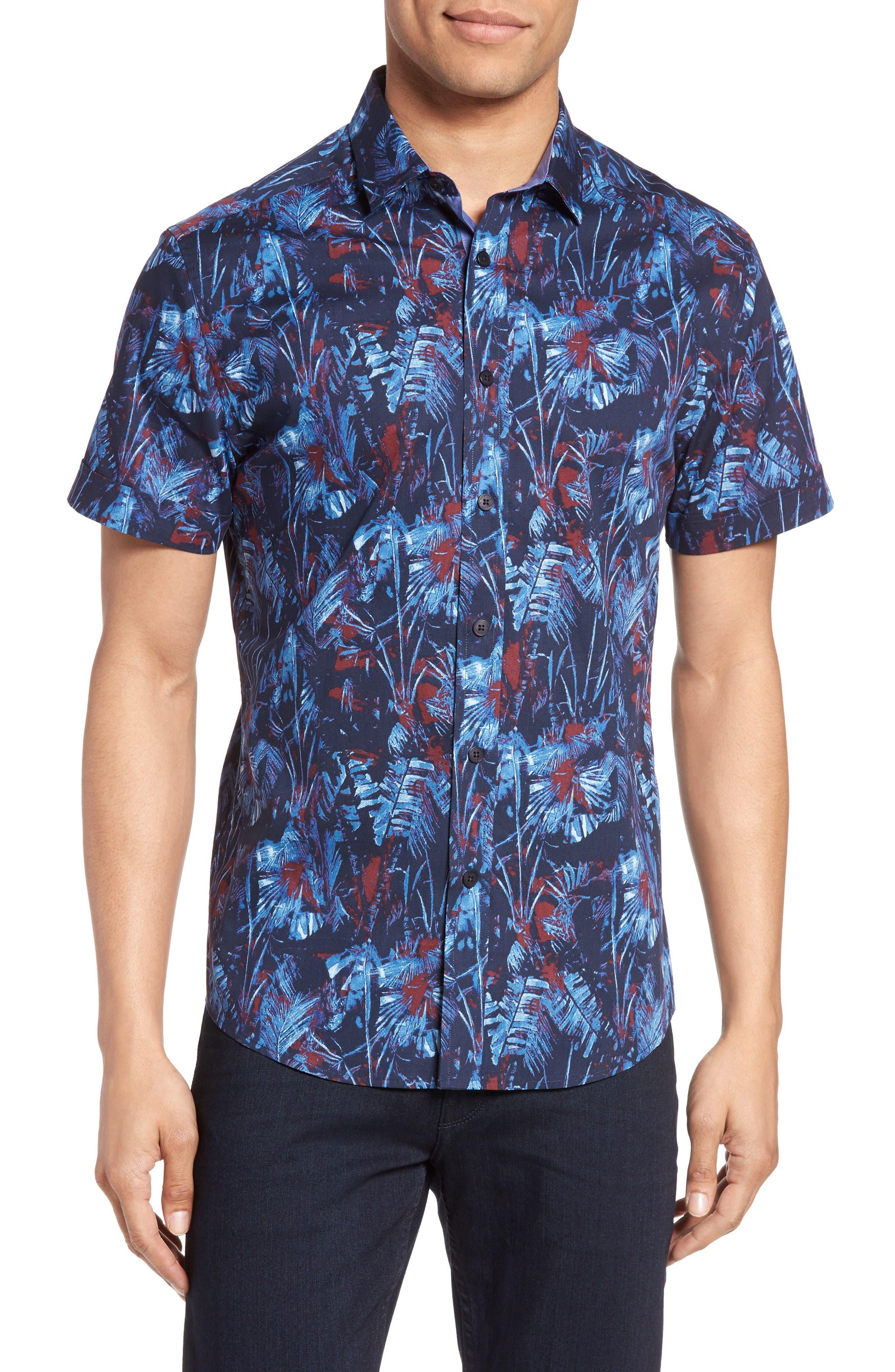 Vince Camuto Floral Print Sport Shirt