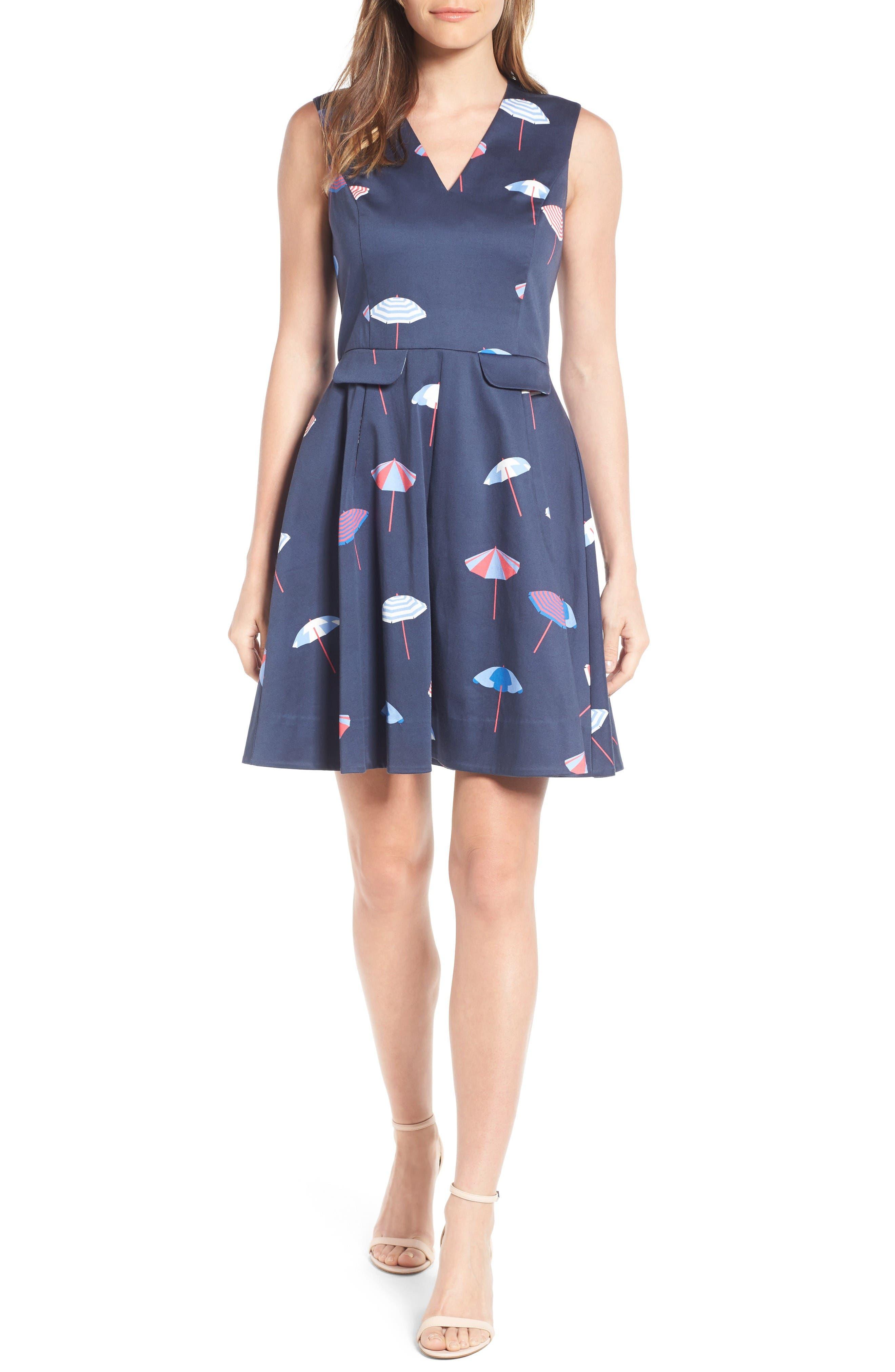 DRAPER JAMES Stretch Cotton Fit & Flare Dress