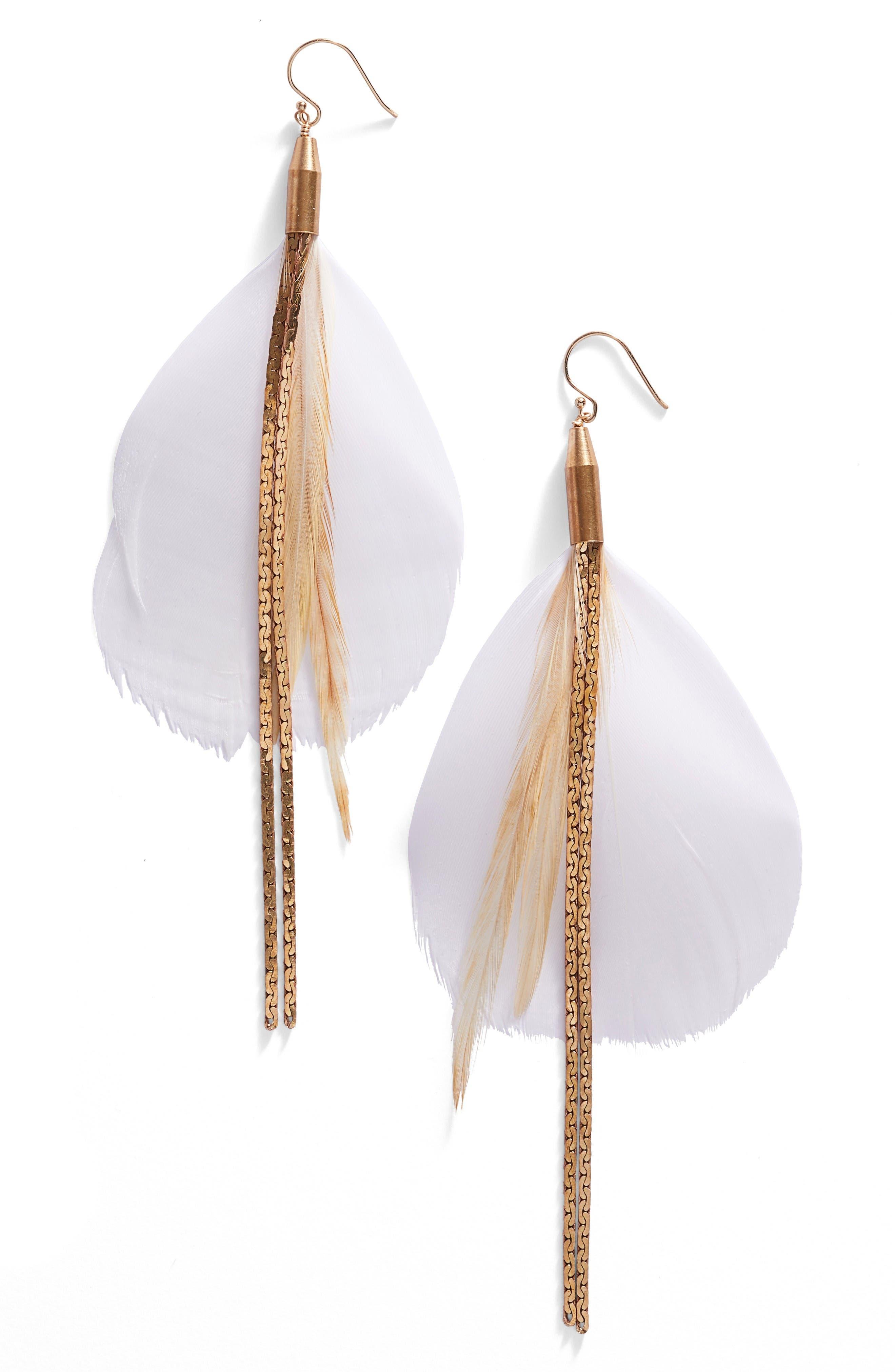 SEREFINA Vintage Feather Drop Earrings