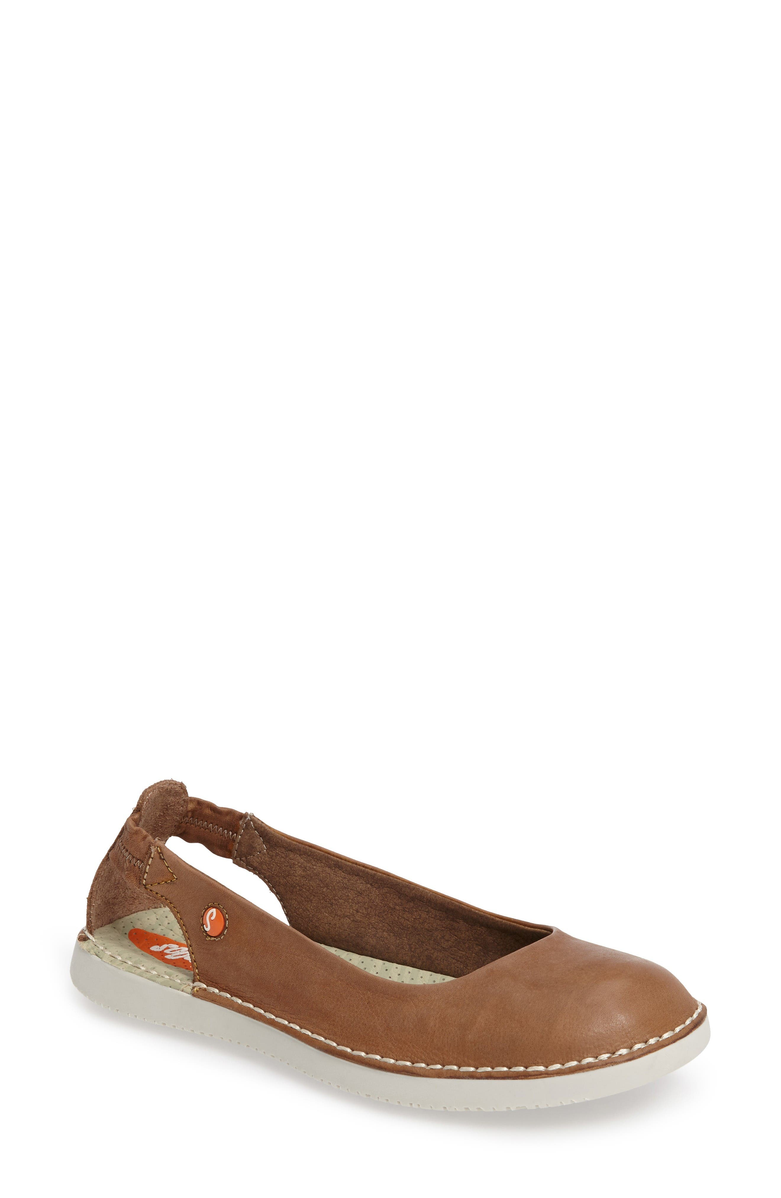 Tor Ballerina Flat,                             Main thumbnail 1, color,                             Brown Washed Leather