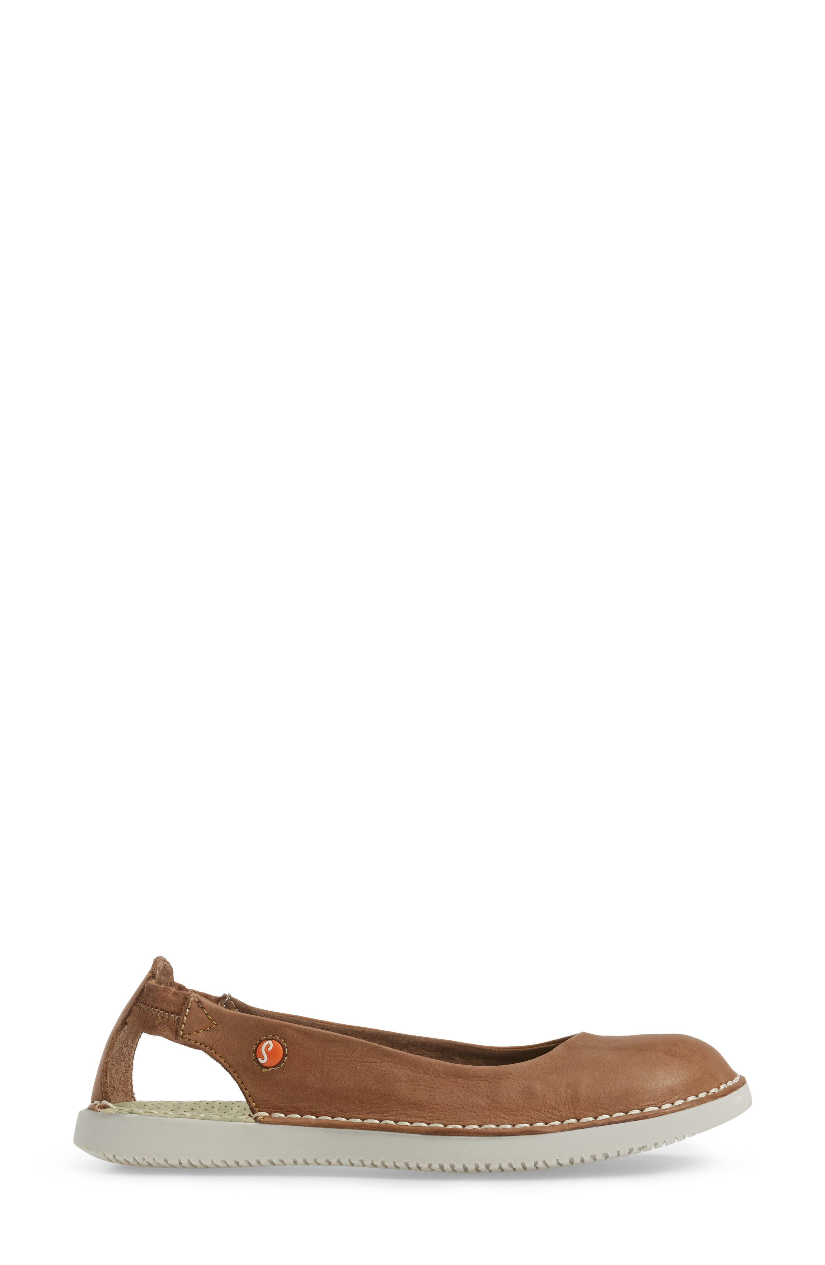 Tor Ballerina Flat,                             Alternate thumbnail 3, color,                             Brown Washed Leather