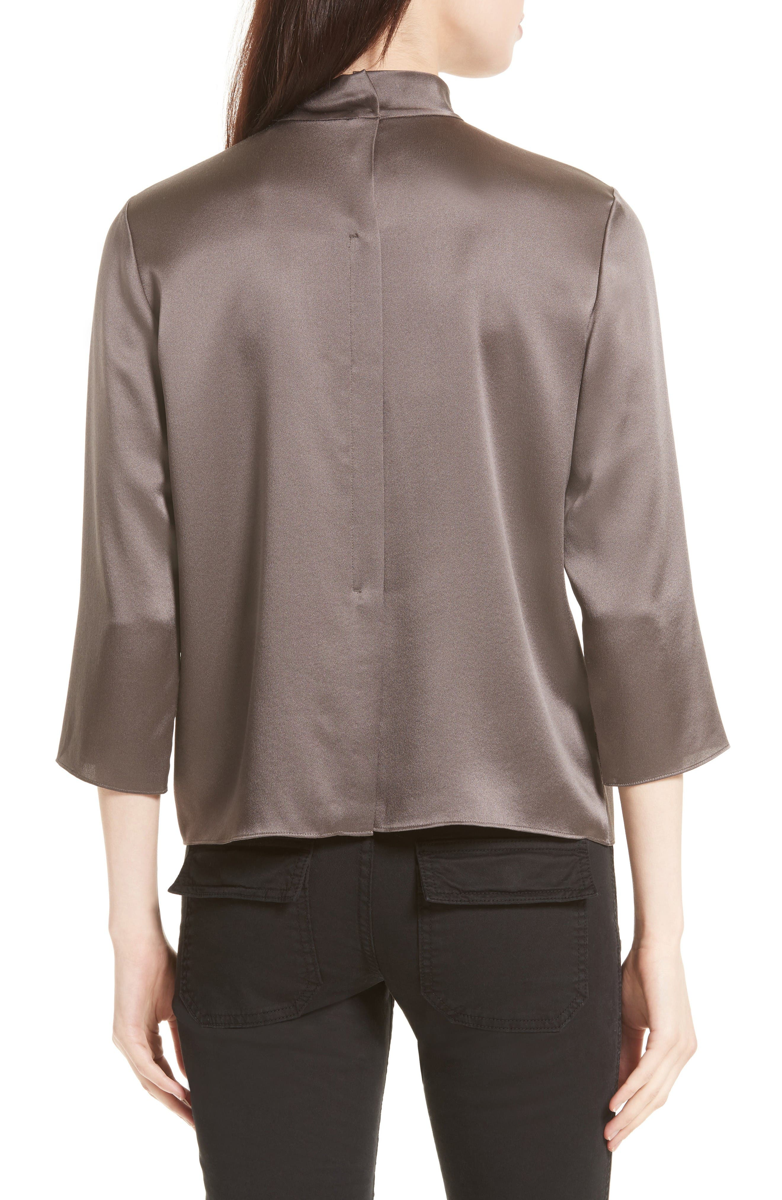 Alternate Image 2  - Vince Mock Neck Silk Satin Blouse