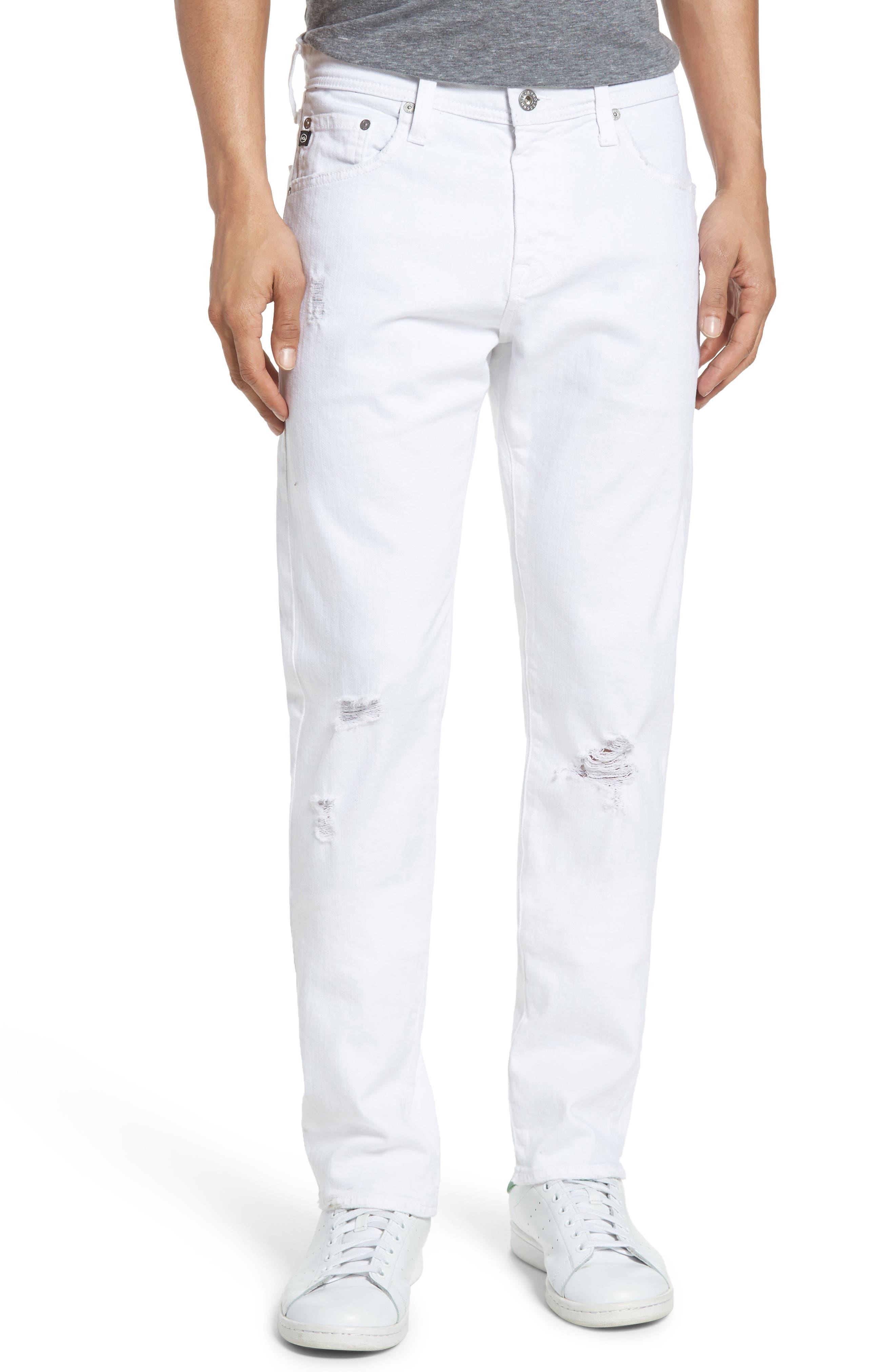 Alternate Image 1 Selected - AG Tellis Slim Fit Jeans (Ragged White)