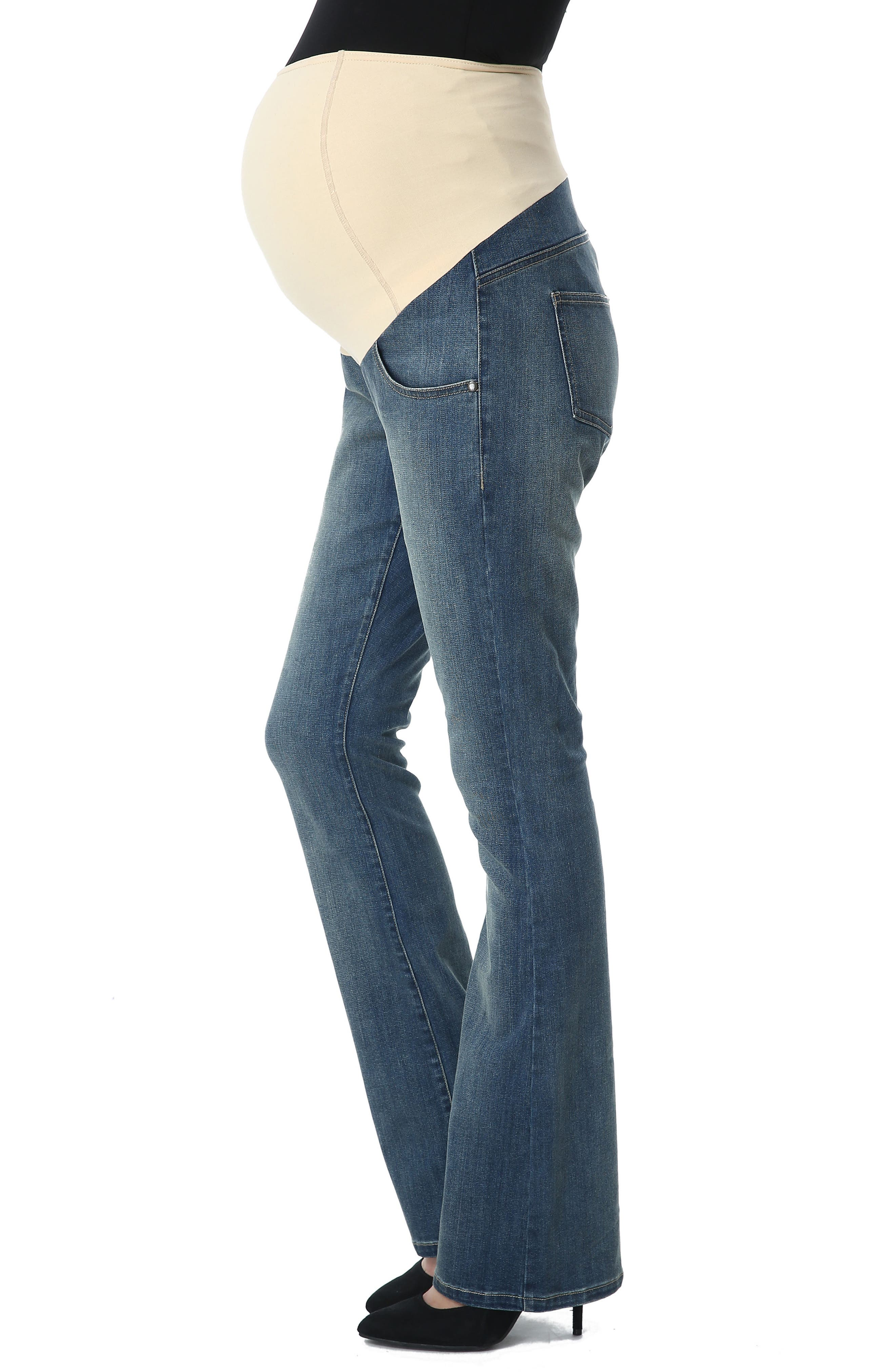 Dixie Maternity Flare Jeans,                             Alternate thumbnail 5, color,                             Medium Indigo