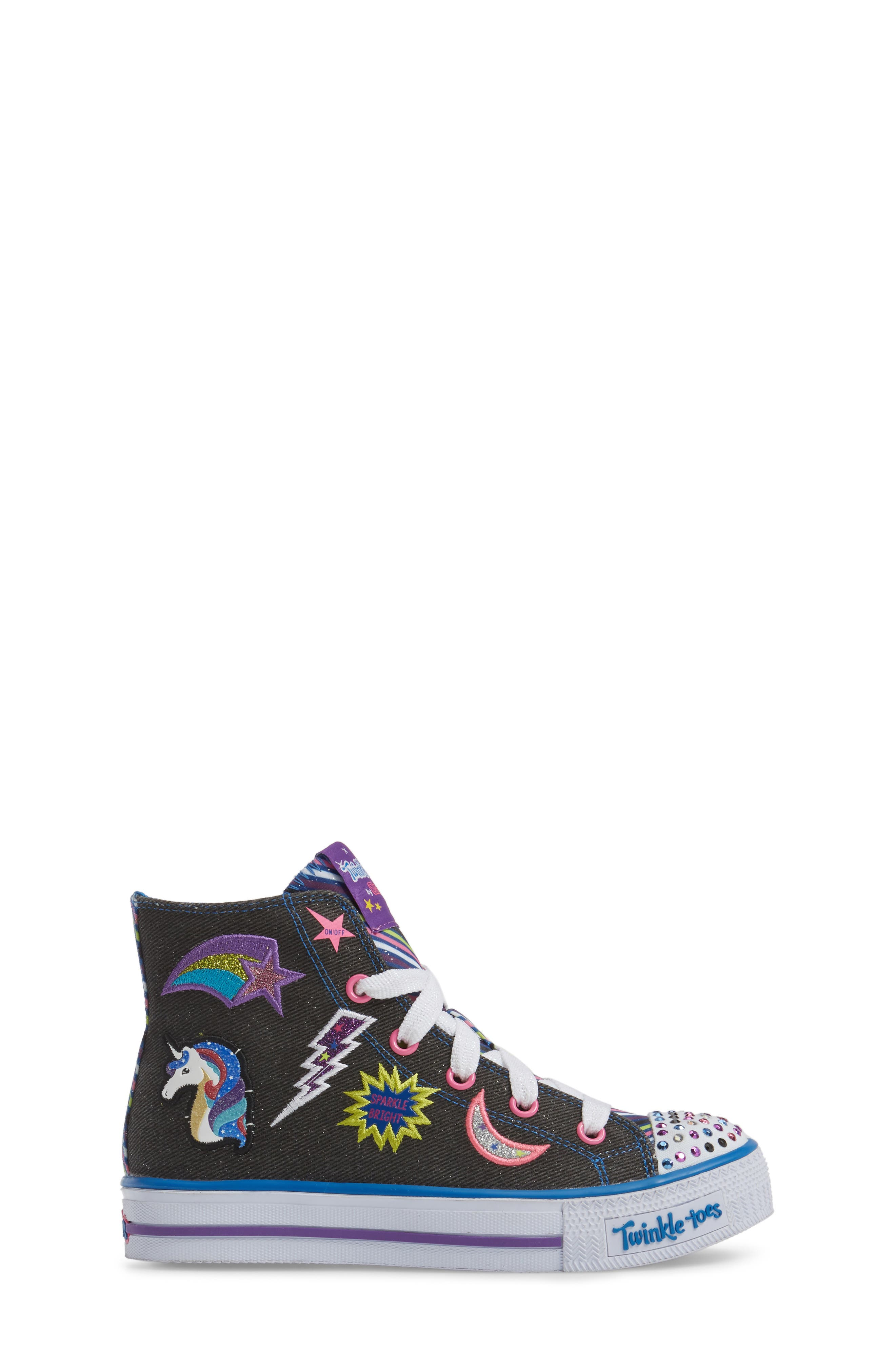 Twinkle Toes Shuffles Light-Up High Top Sneaker,                             Alternate thumbnail 3, color,                             Black Canvas