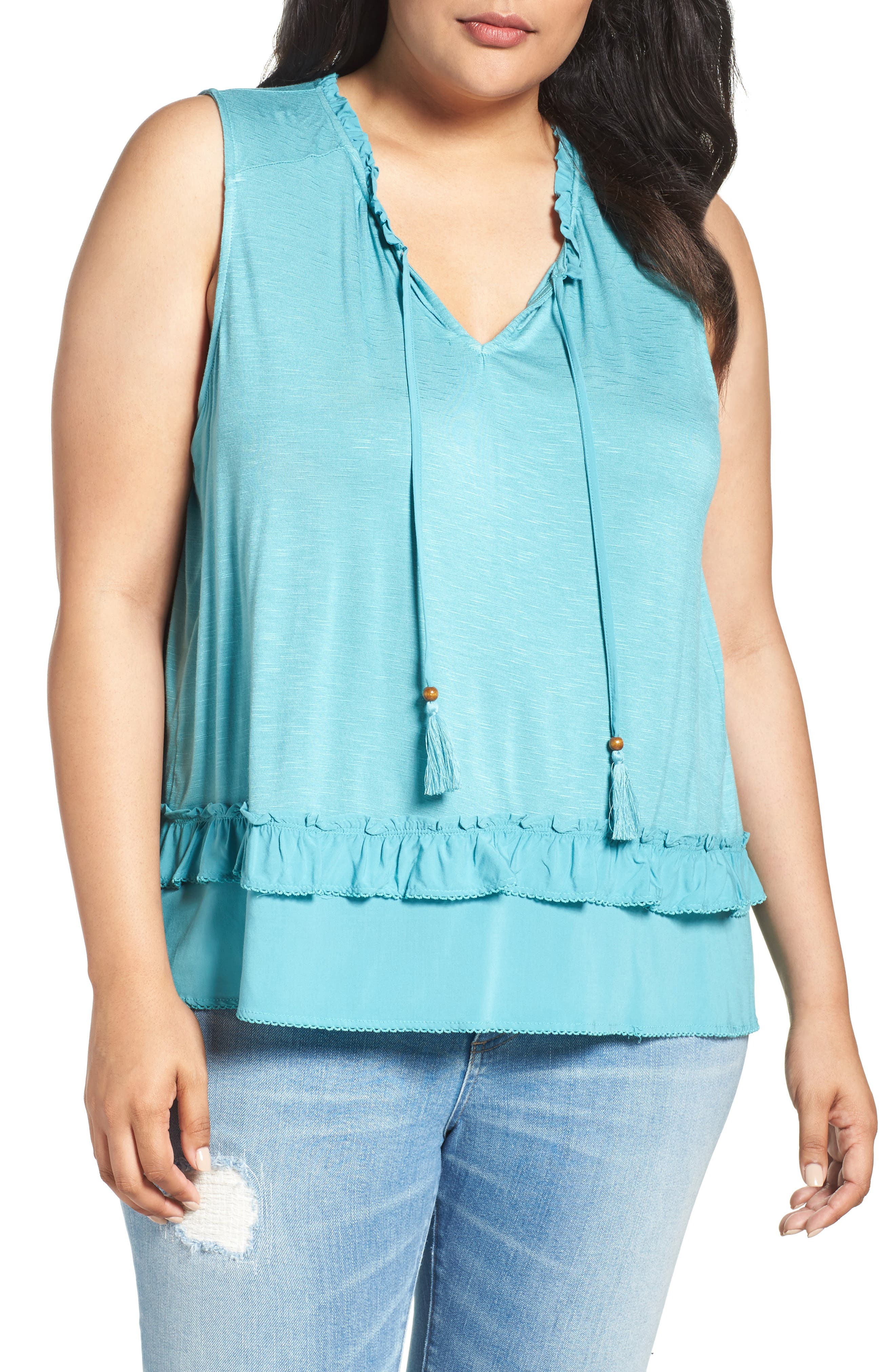 Alternate Image 1 Selected - Democracy Ruffle Trim Tie Neck Top (Plus Size)