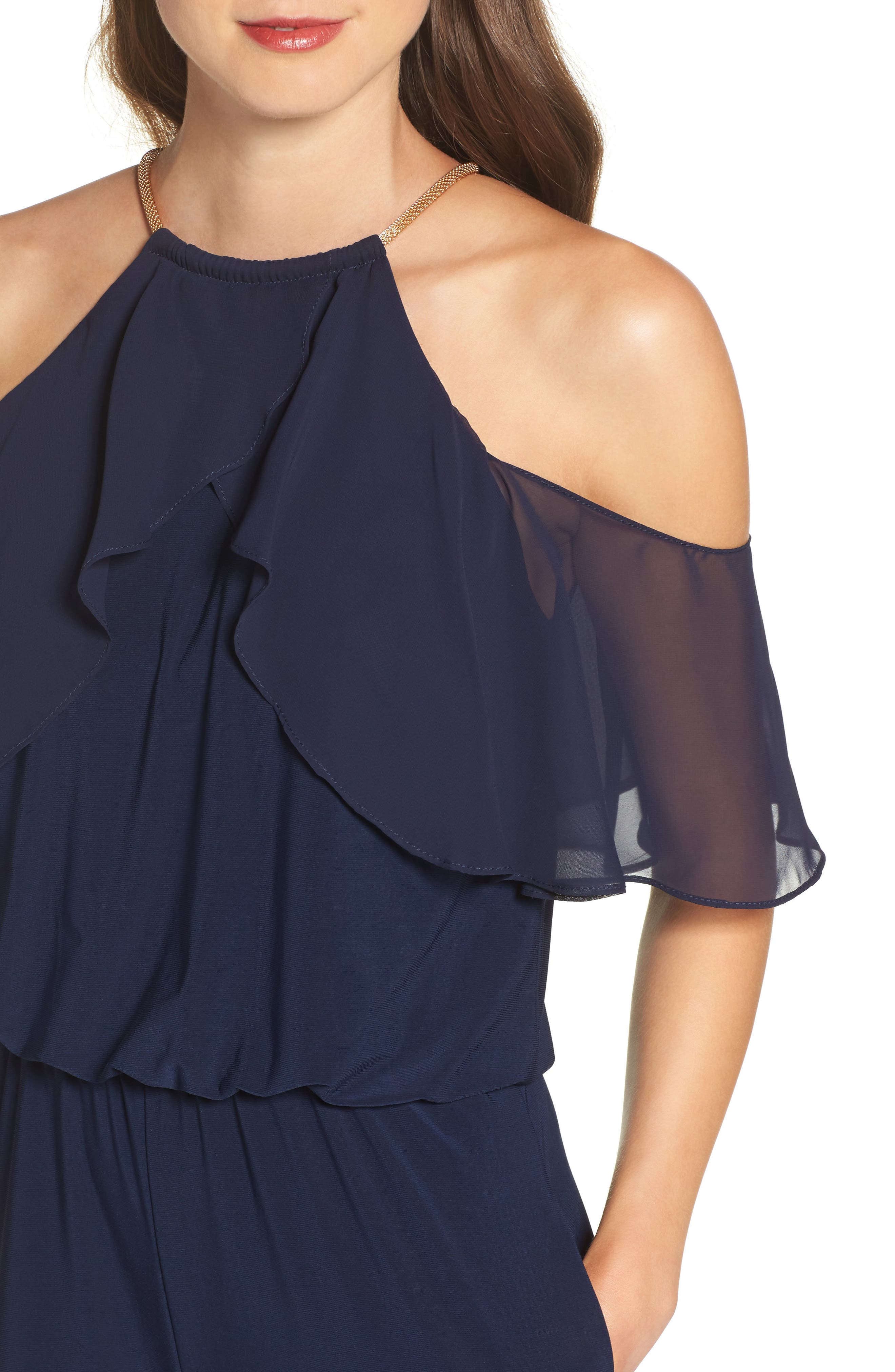 Cold Shoulder Jumpsuit,                             Alternate thumbnail 4, color,                             Navy