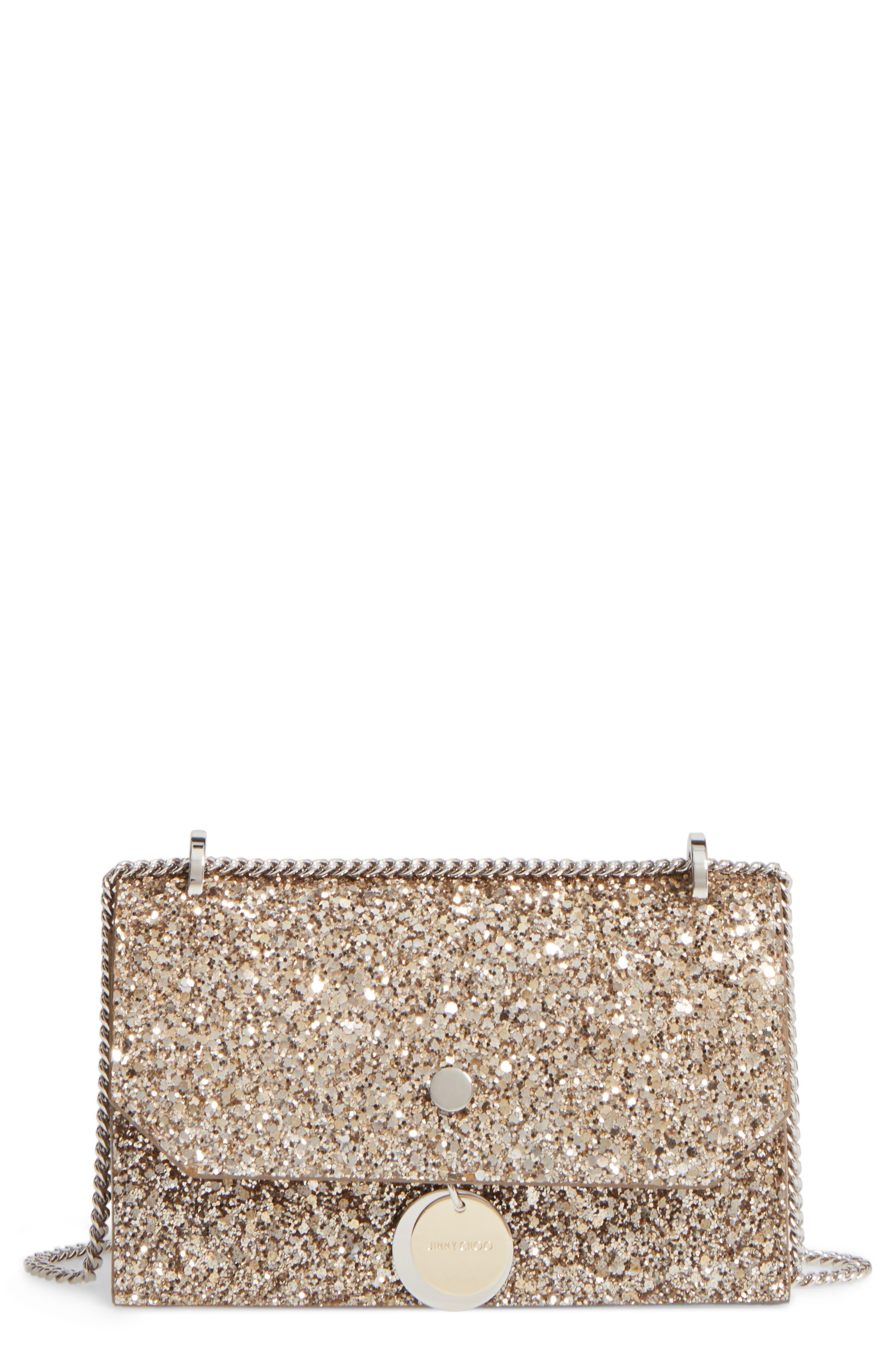 JIMMY CHOO Finley Shadow Glitter Shoulder Bag