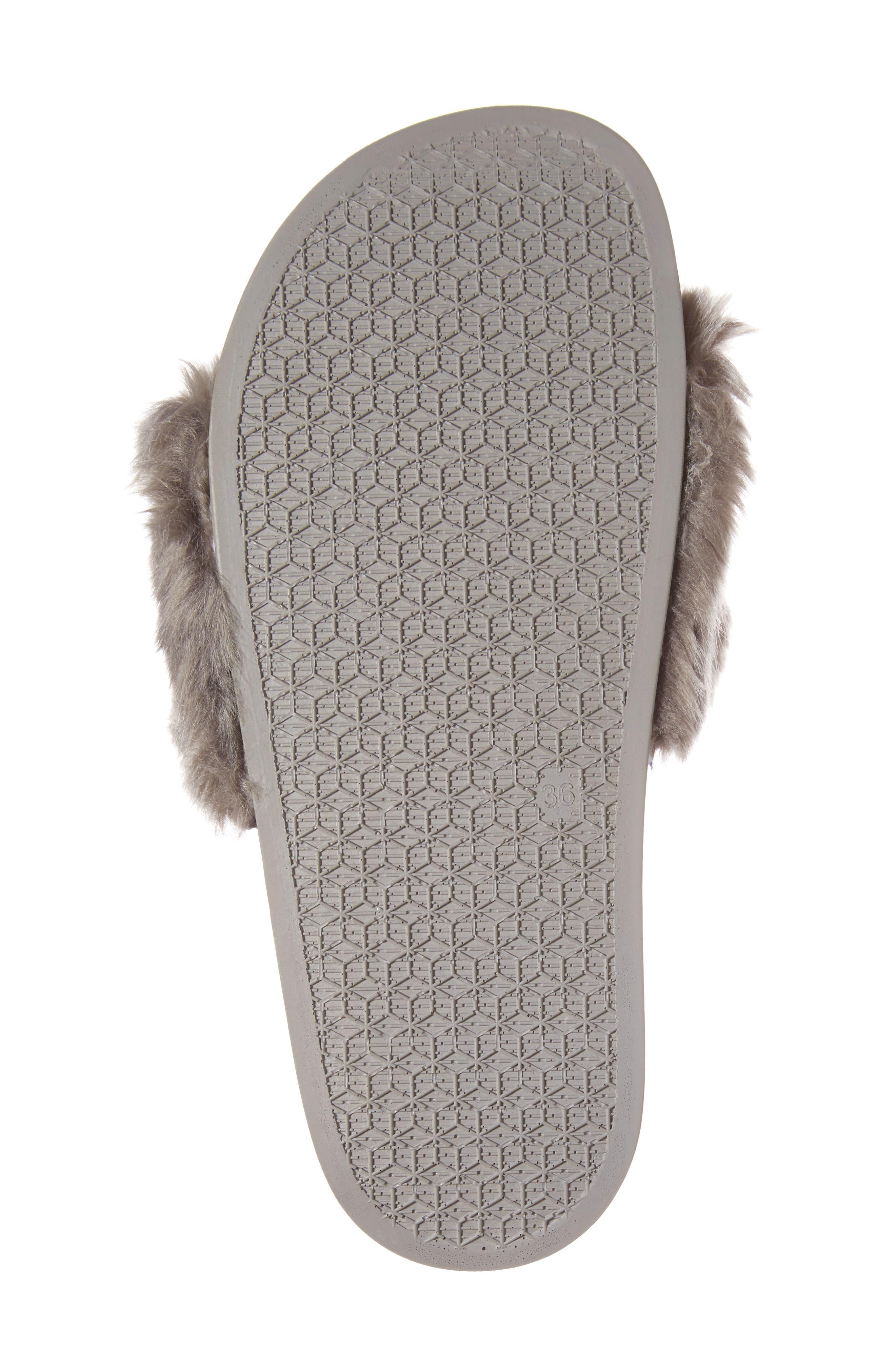 Vixen Slide Sandal,                             Alternate thumbnail 6, color,                             Grey Faux Fur