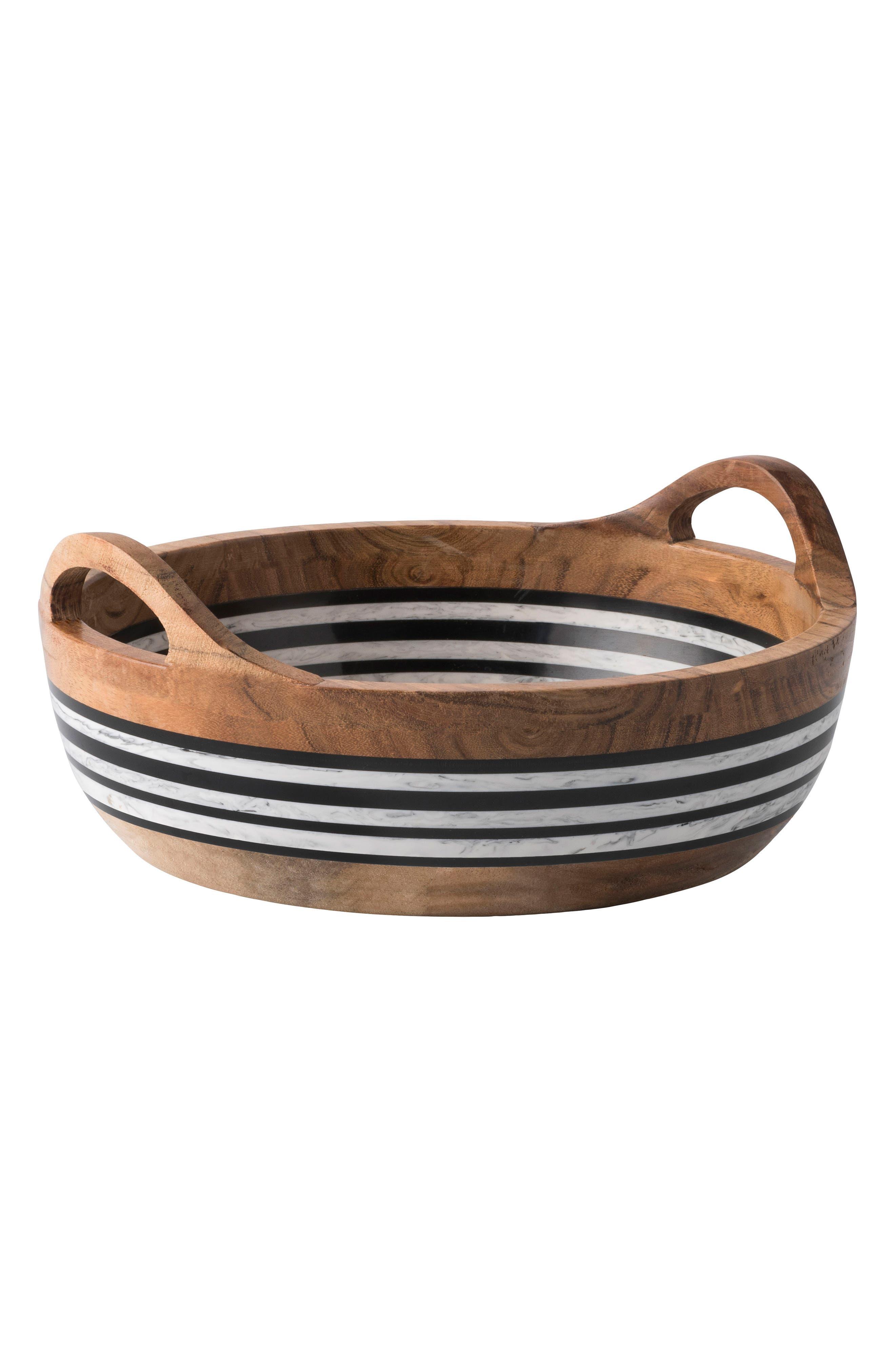 Stonewood Stripe Round Serving Bowl,                             Main thumbnail 1, color,                             Natural Stripe