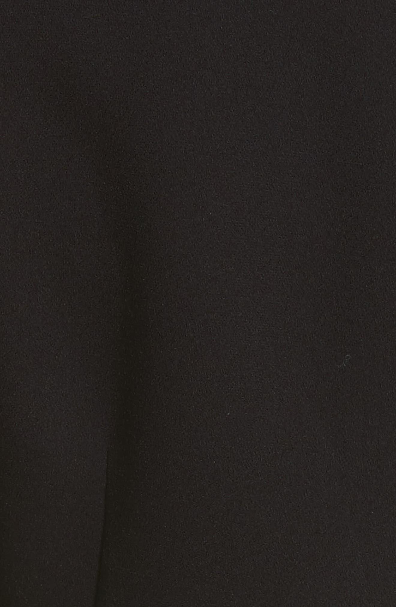 Cold Shoulder Midi Dress,                             Alternate thumbnail 5, color,                             Black
