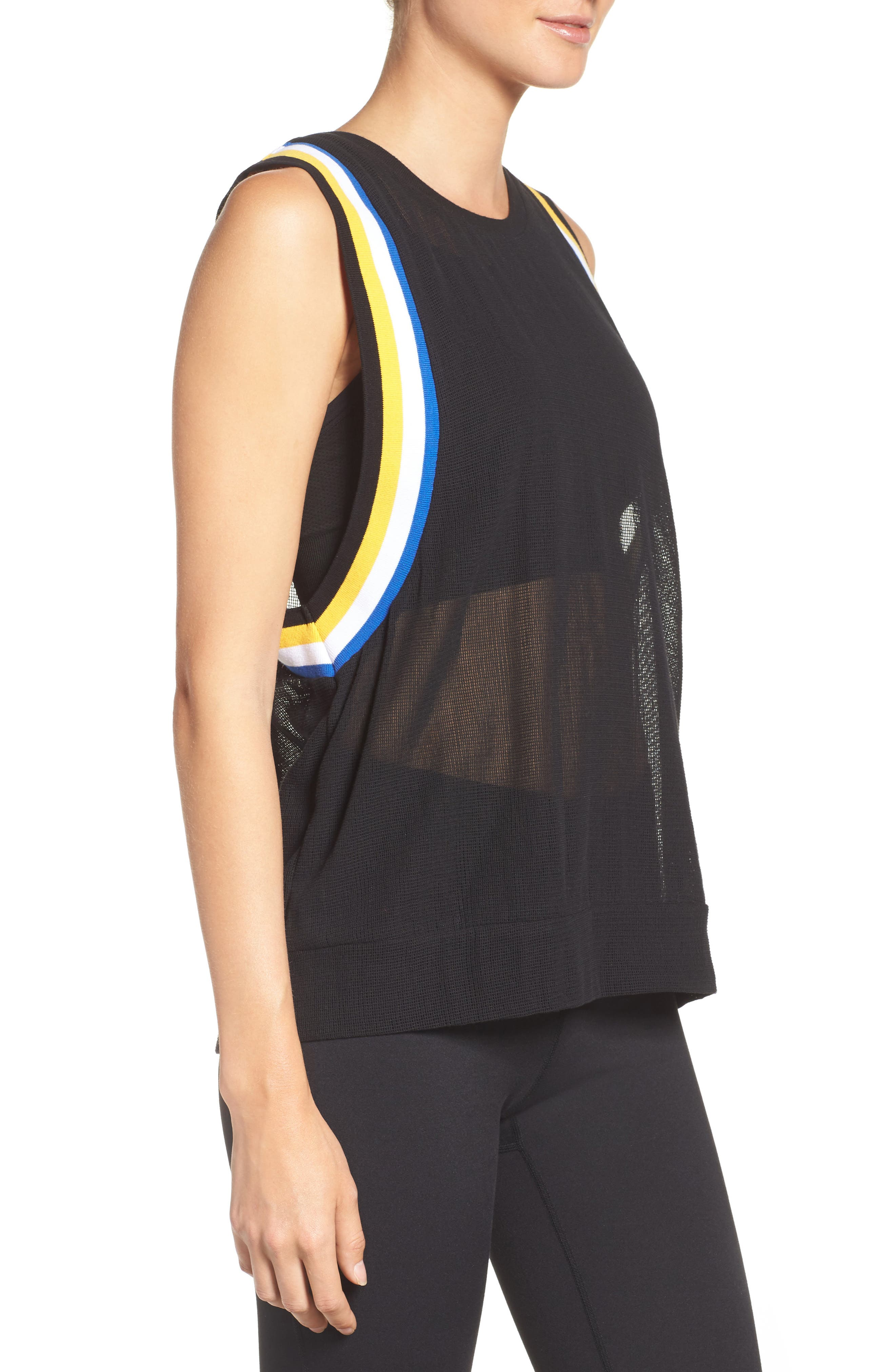 P.E. Nation Fast Ball Mesh Tank,                             Alternate thumbnail 3, color,                             Black/ Multi