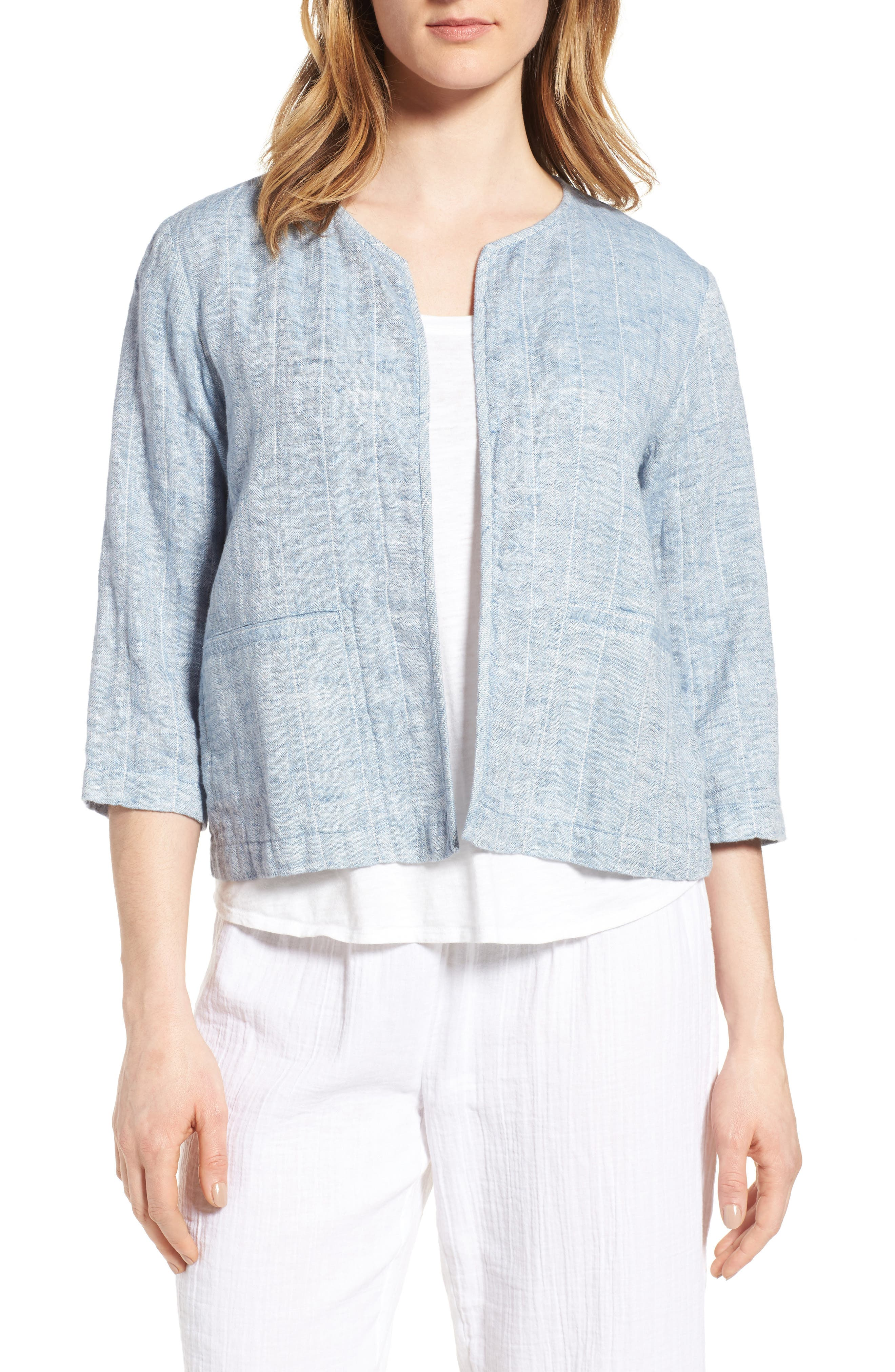 Alternate Image 1 Selected - Eileen Fisher Organic Cotton & Linen Crop Jacket (Regular & Petite)