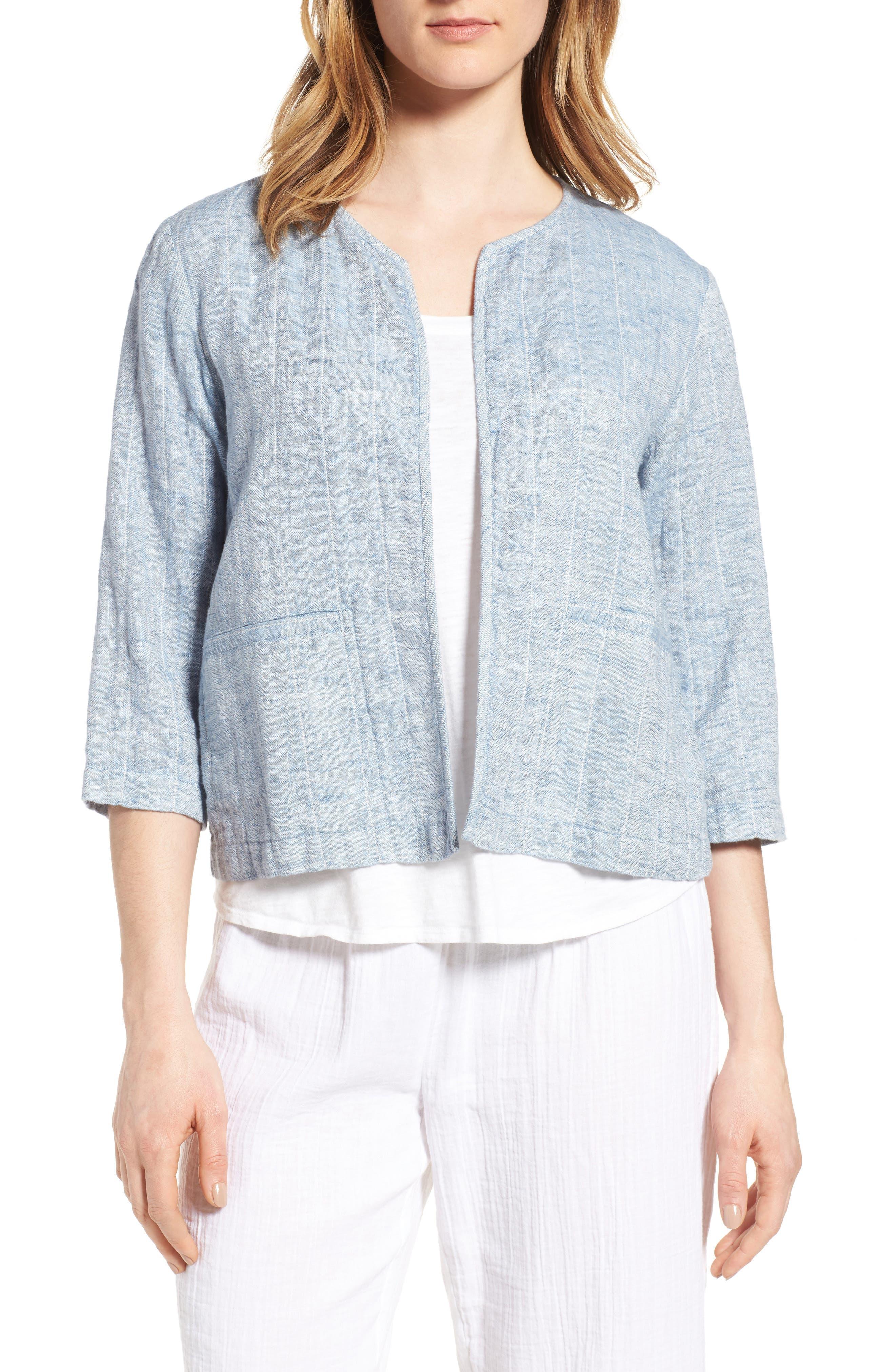 Organic Cotton & Linen Crop Jacket,                         Main,                         color, Chambray