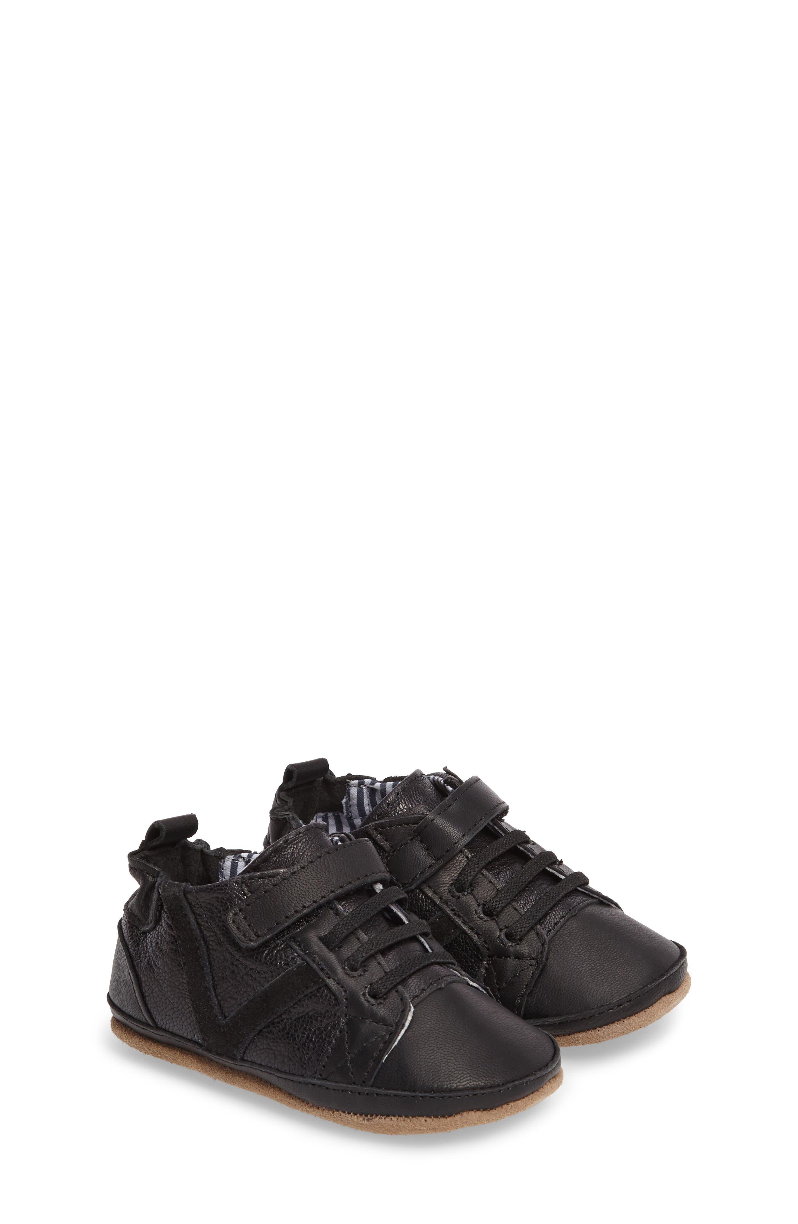 Asher Crib Shoe,                             Main thumbnail 1, color,                             Black