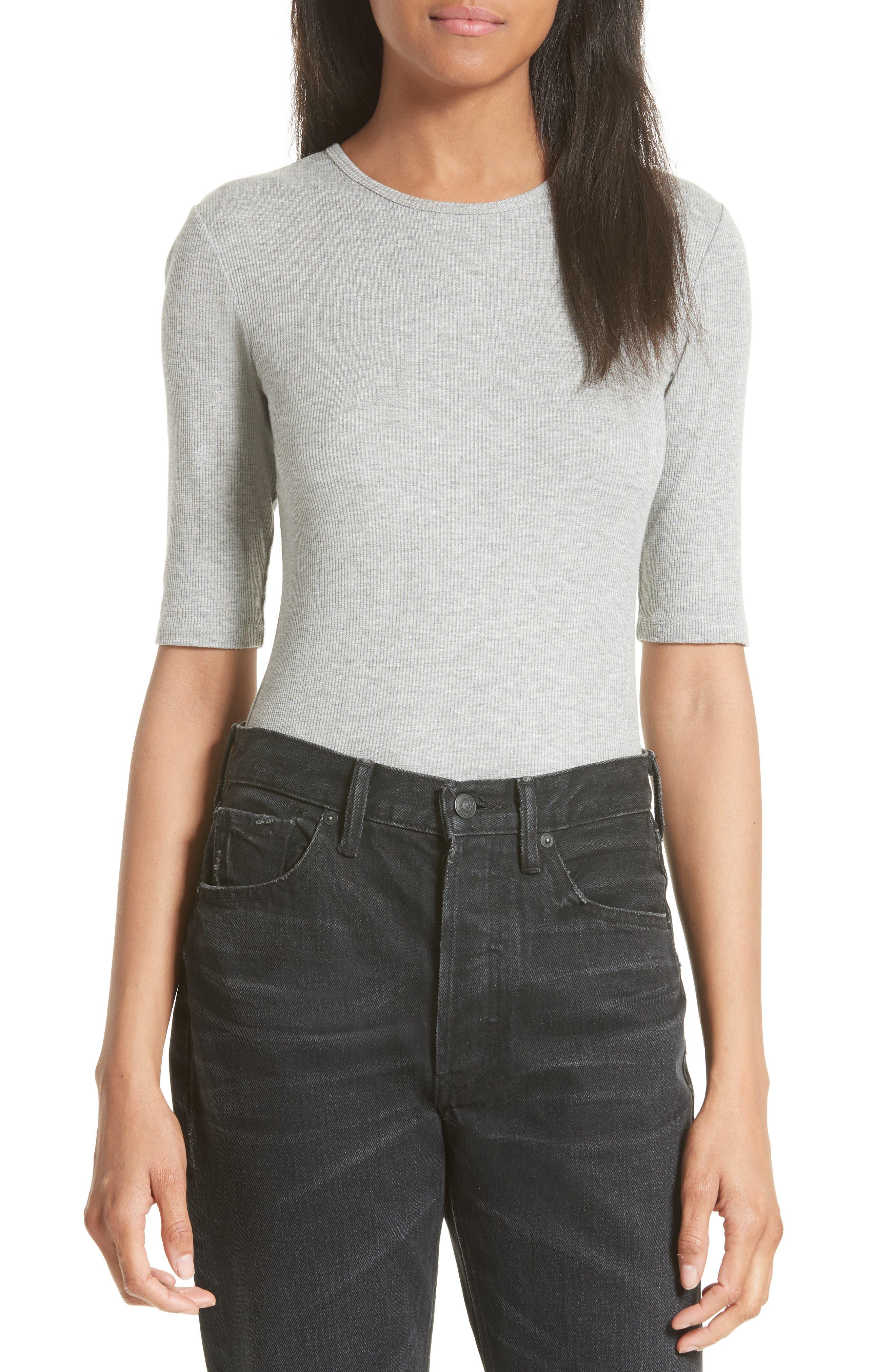 Elbow Sleeve Bodysuit,                         Main,                         color, Heather Grey