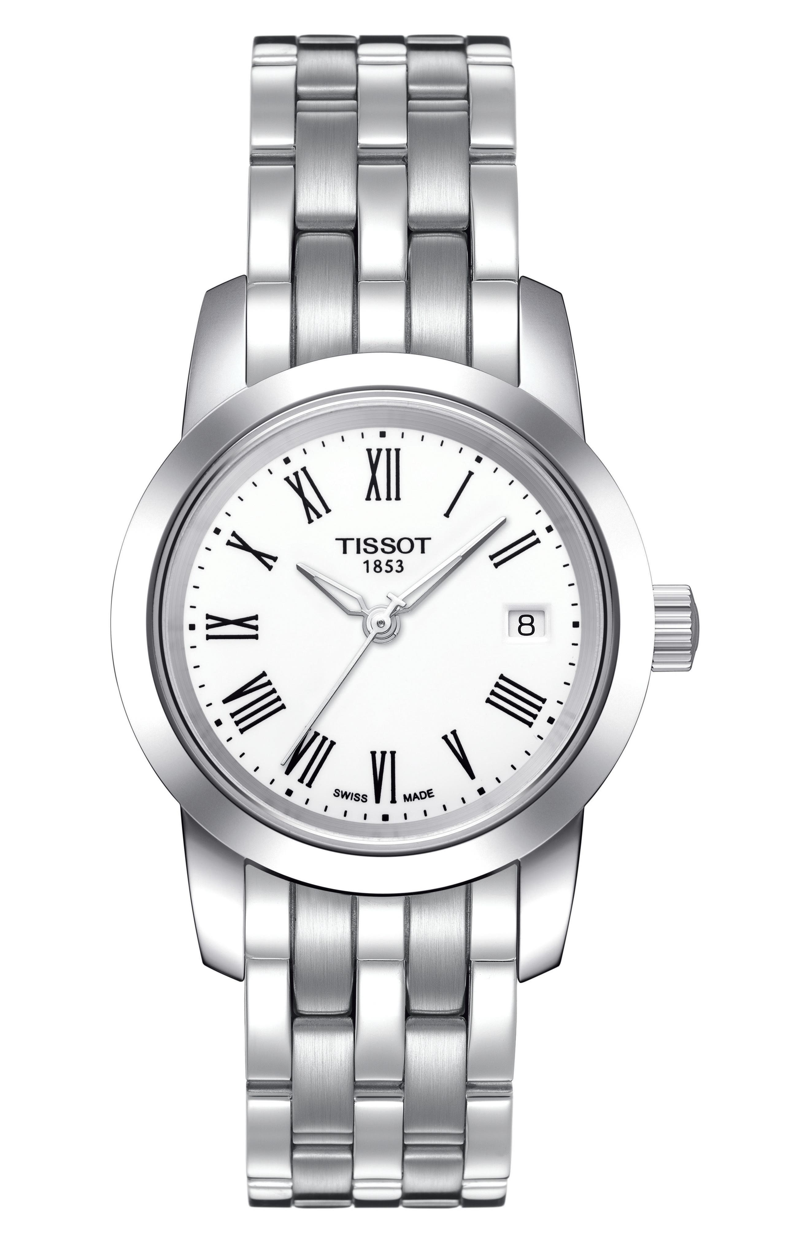 Classic Dream Bracelet Watch, 28mm,                         Main,                         color, Silver/ White/ Silver
