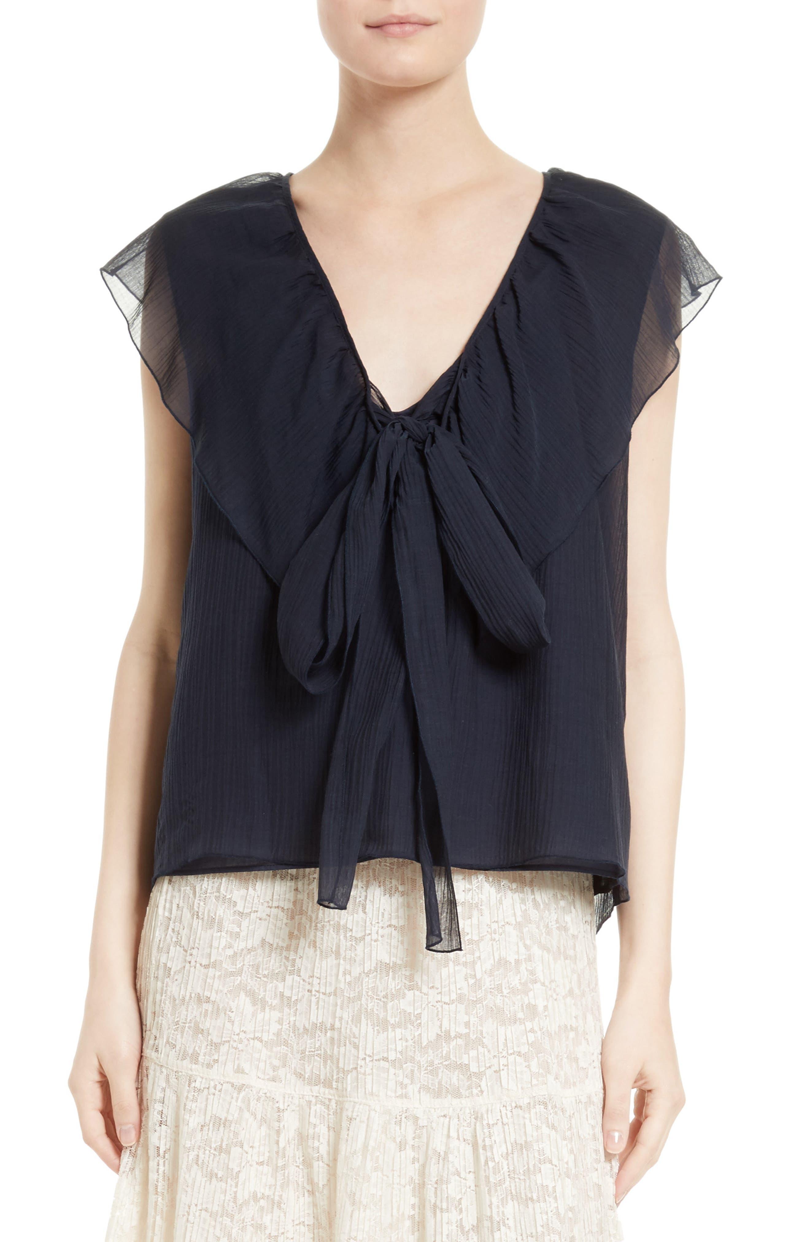 Cotton & Silk Ruffle Top,                         Main,                         color, Eclipse