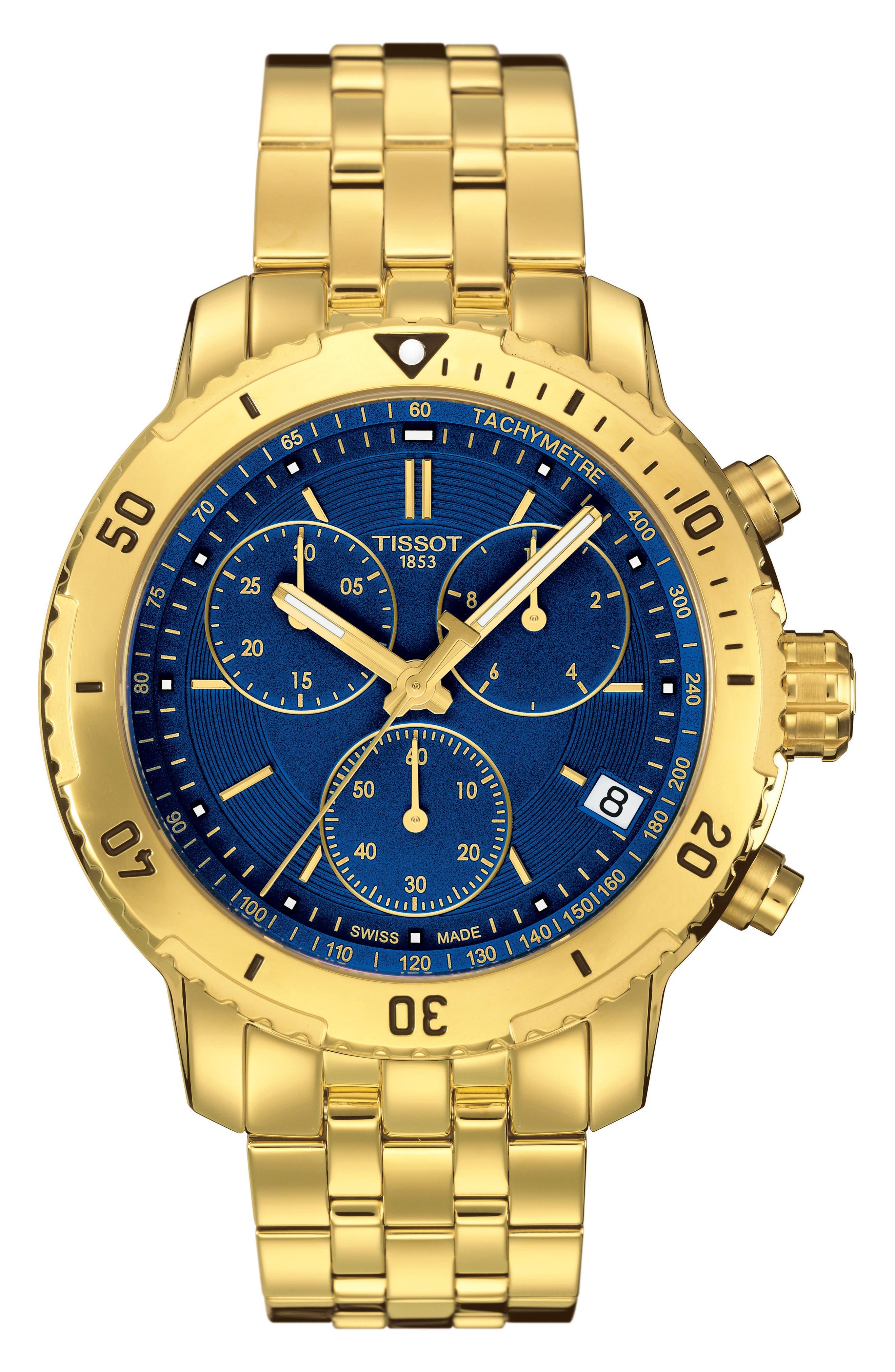 PRS200 Chronograph Bracelet Watch, 41mm,                             Main thumbnail 1, color,                             Gold/ Blue/ Gold