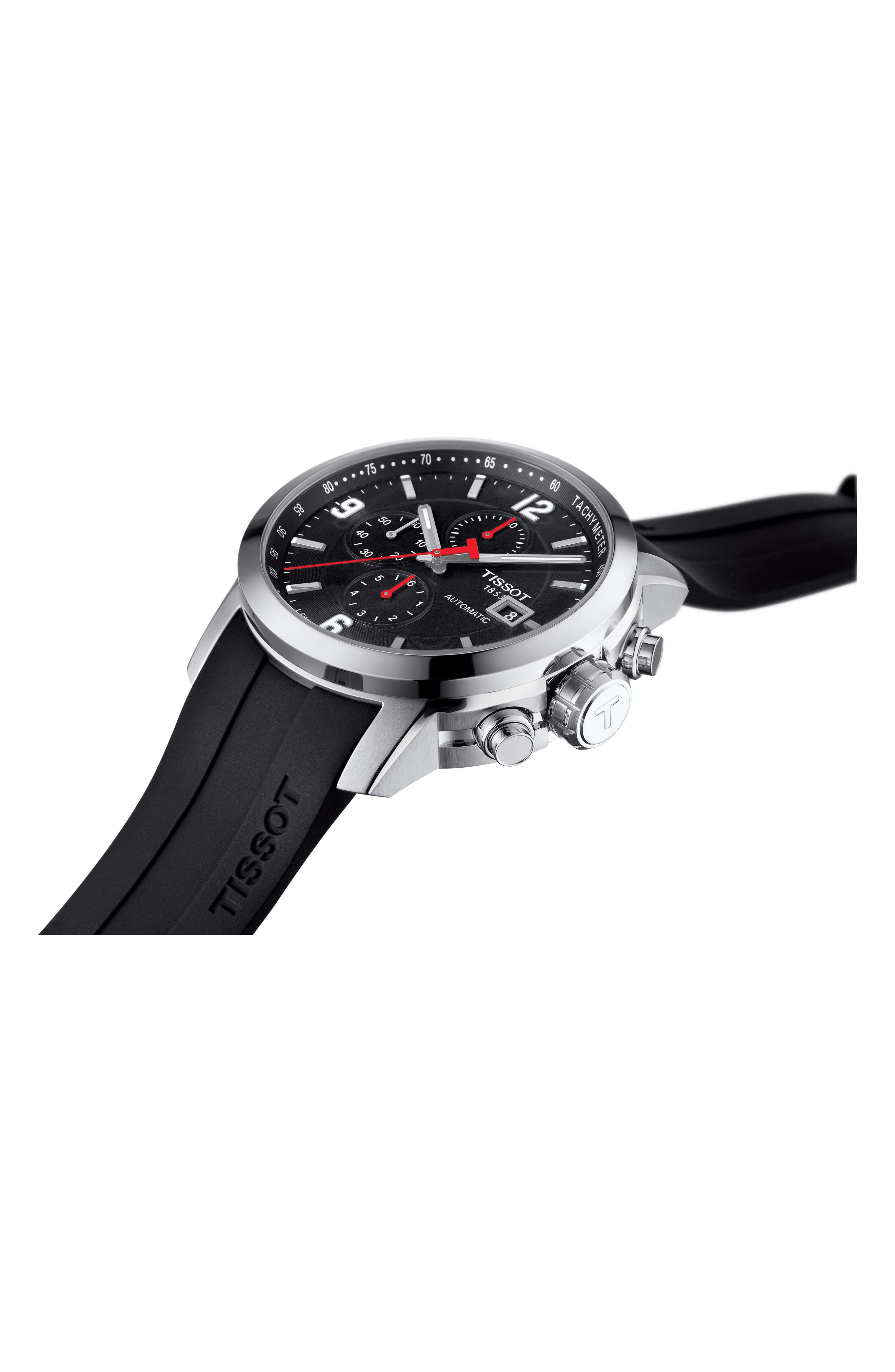 PRC200 Automatic Chronograph Silicone Strap Watch, 43mm,                             Alternate thumbnail 4, color,                             Black/ Silver