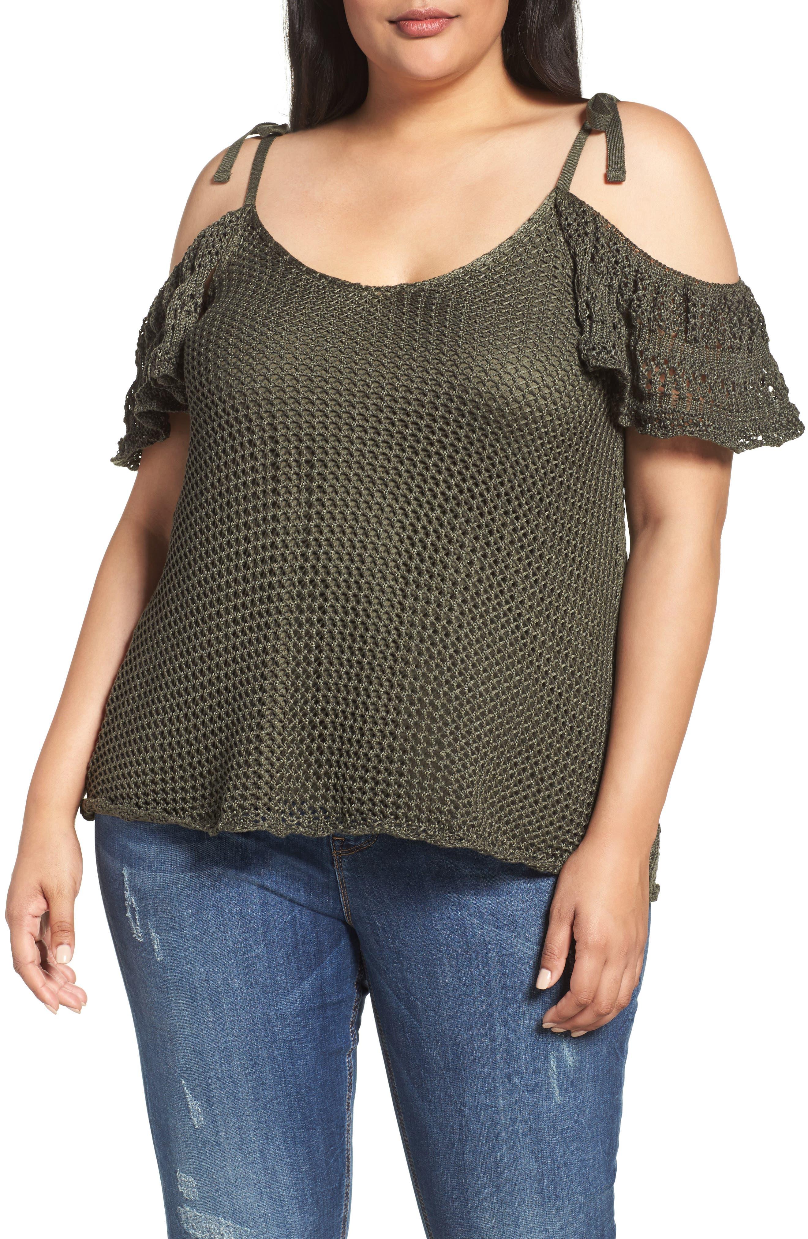 Crochet Cold Shoulder Top,                         Main,                         color, Khaki