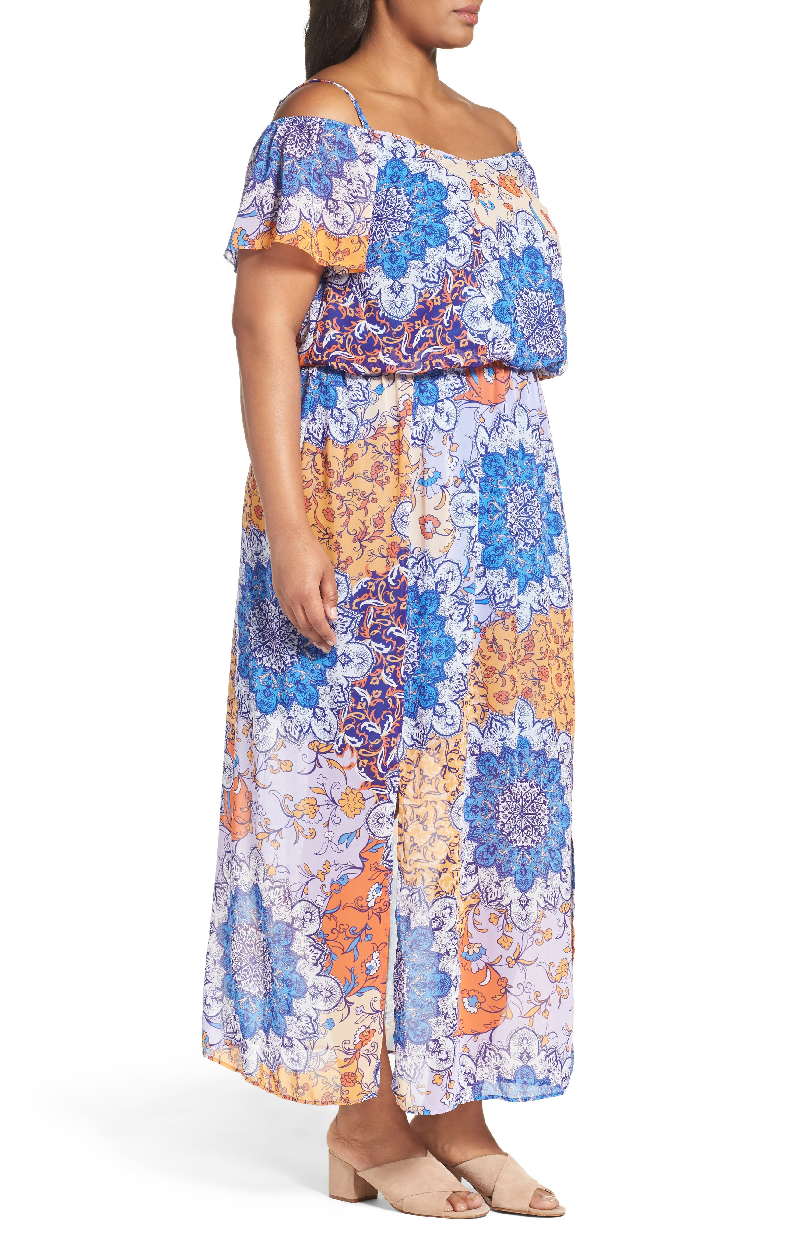 Alternate Image 3  - London Times Print Cold Shoulder Maxi Dress (Plus Size)
